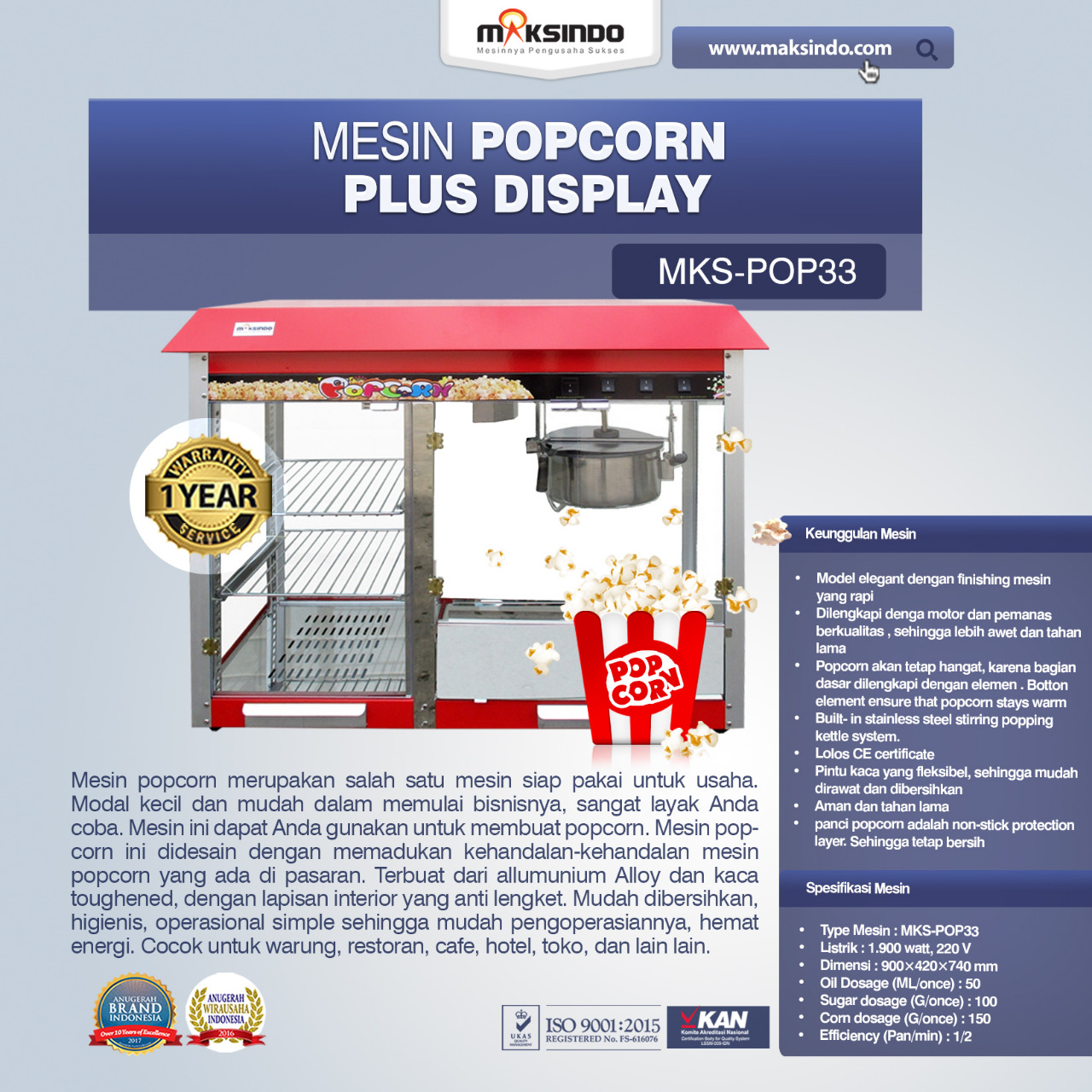 Jual Mesin Popcorn Plus Display (POP33) di Medan