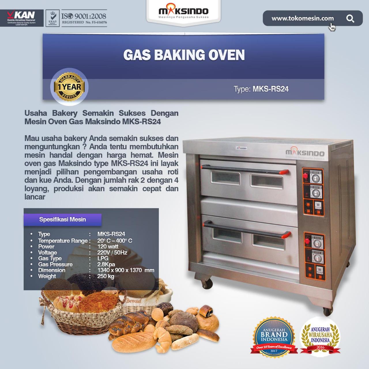 Jual Mesin Oven Roti Gas 4 Loyang (MKS-RS24) di Medan