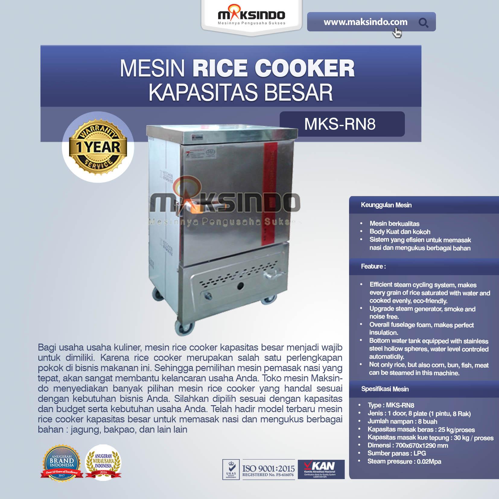 Jual Rice Cooker Kapasitas Besar 25 kg 8 Rak di Medan