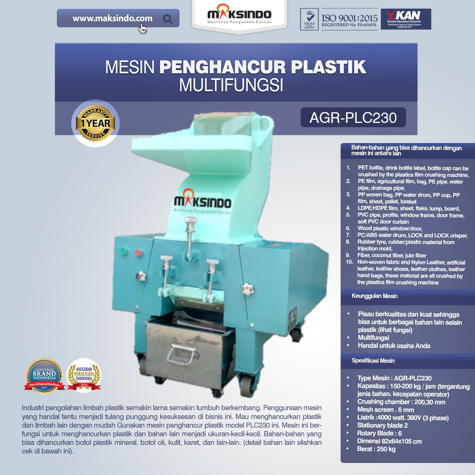 Jual Mesin Penghancur Plastik Multifungsi – PLC230 Di Medan