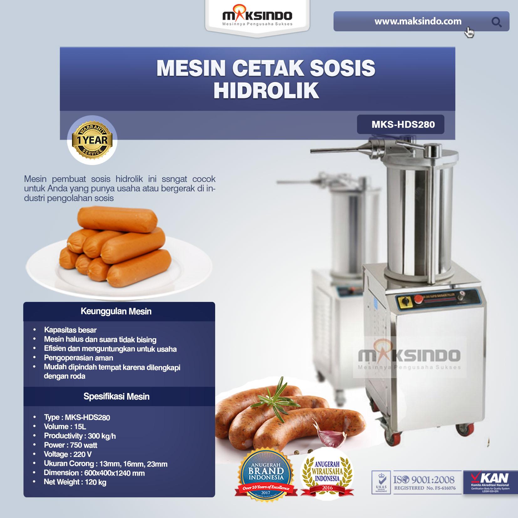 Jual Mesin Cetak Sosis Hidrolik MKS-HDS280 di Medan