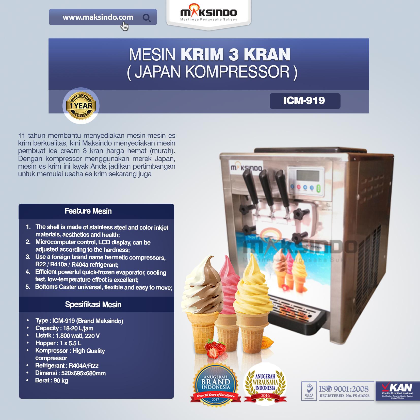 Jual Mesin Es Krim 3 Kran (Japan Kompressor) di Medan