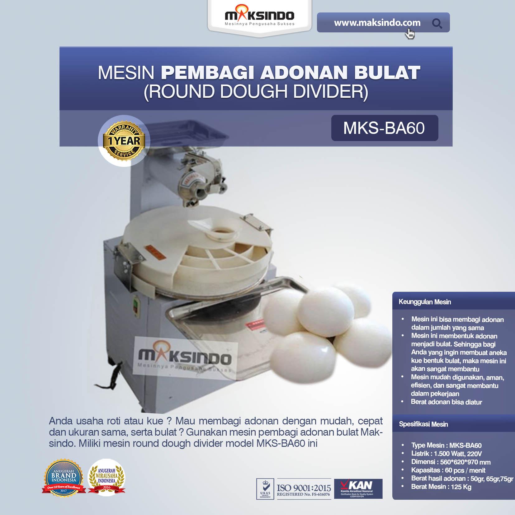 Jual Mesin Pembagi Adonan Bulat (MKS-BA60) di Medan