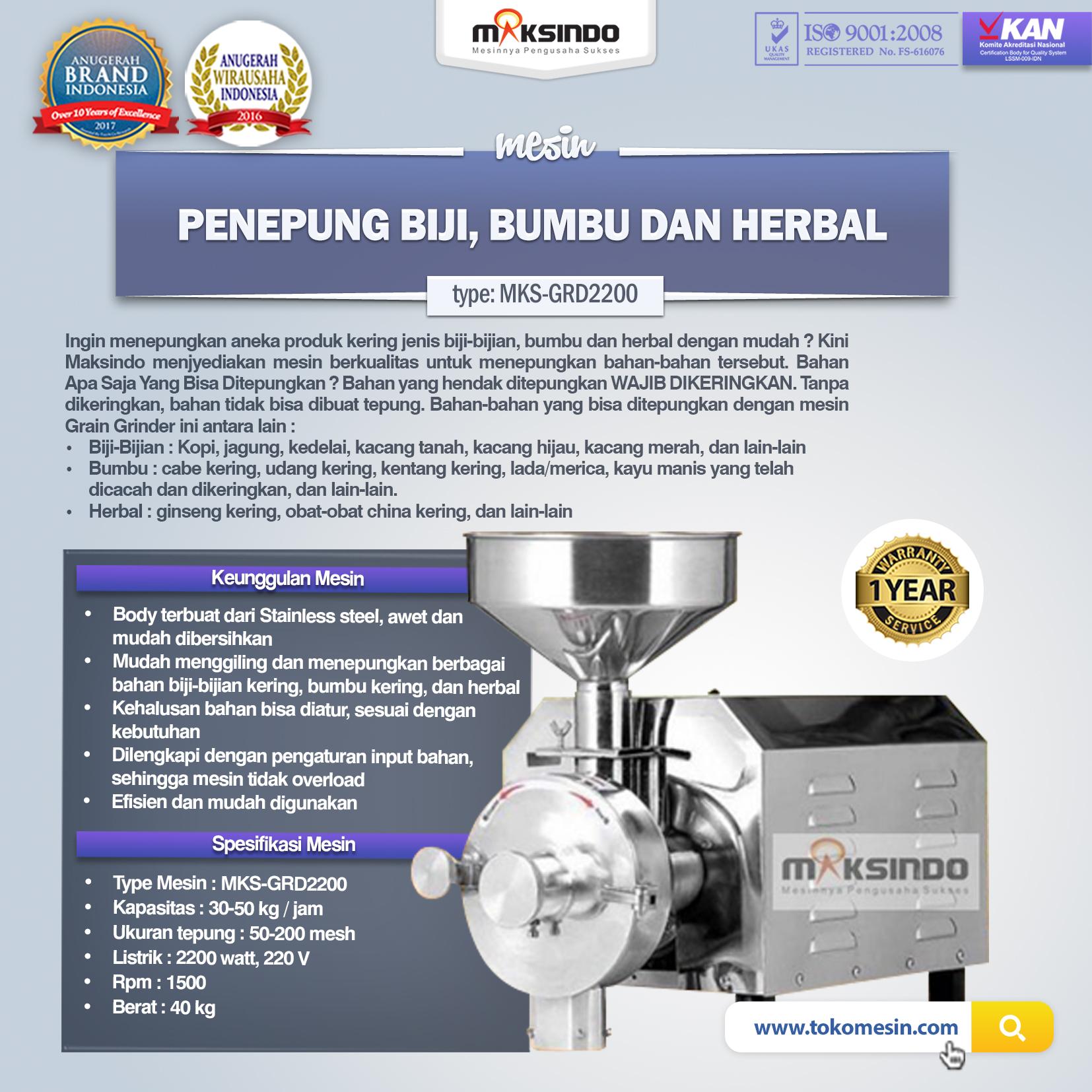 Jual Penepung Biji, Bumbu dan Herbal (GRD2200) di Medan