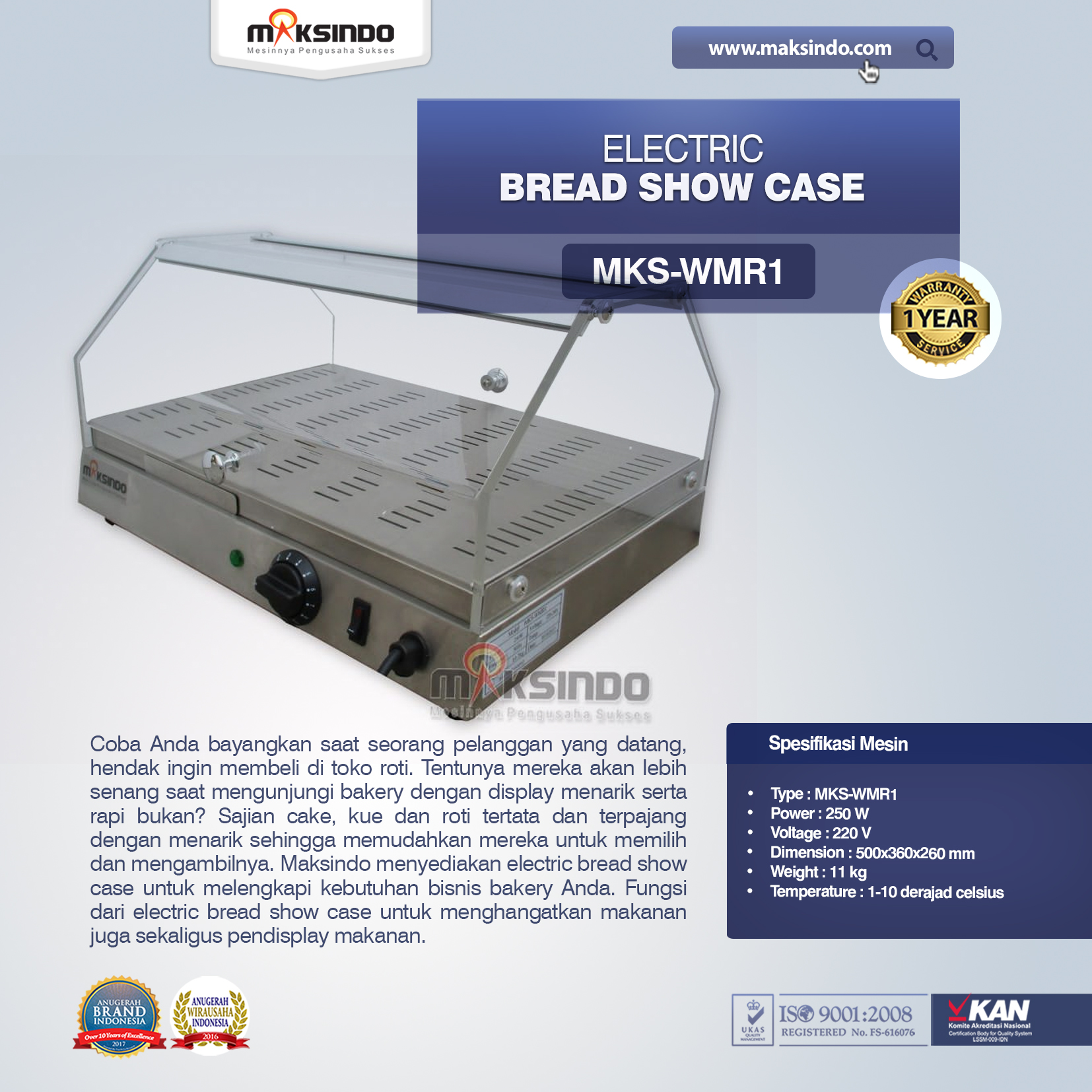Jual Electric Bread Show Case MKS-WMR1 di Medan