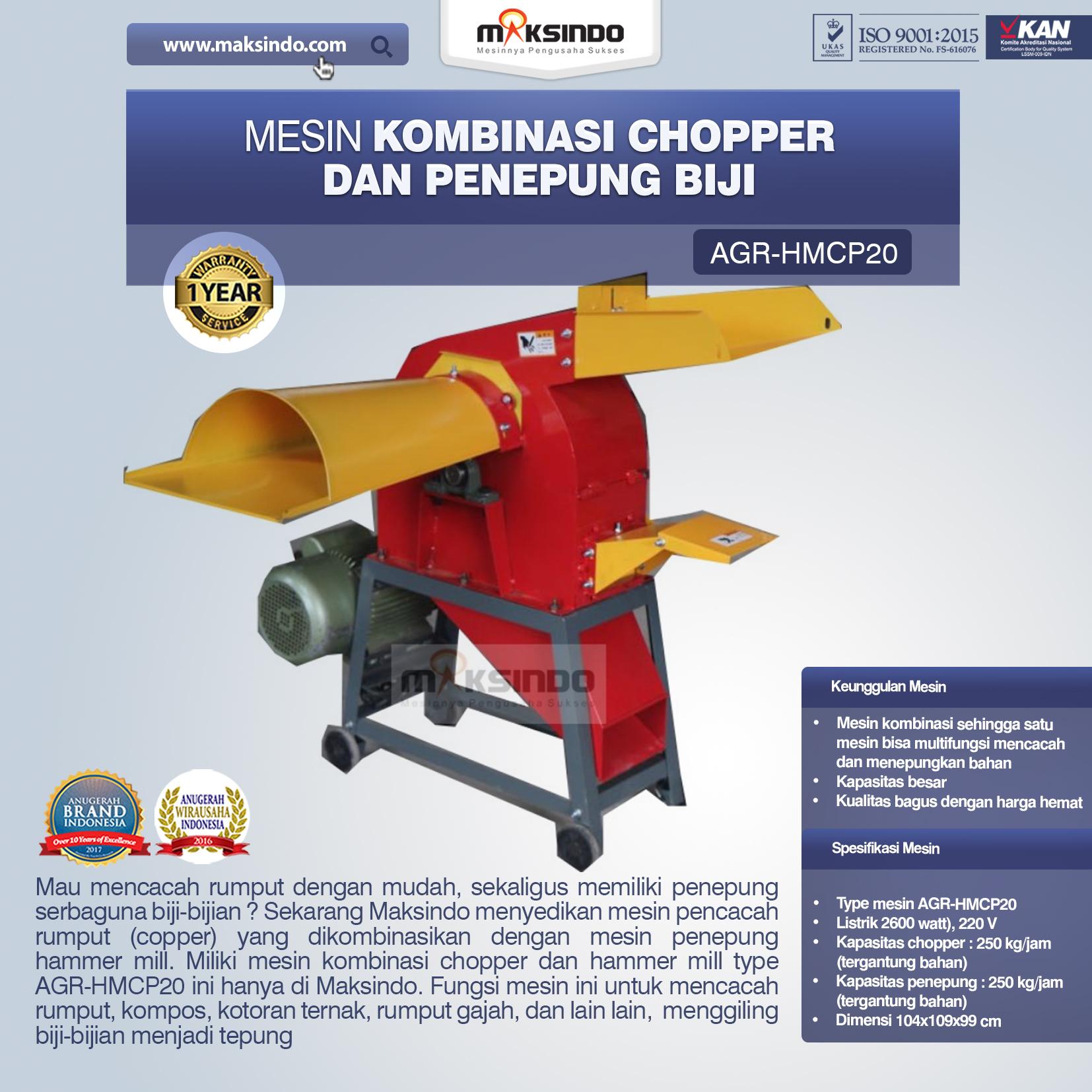Jual Mesin Kombinasi Chopper dan Penepung Biji (HMCP20) di Medan