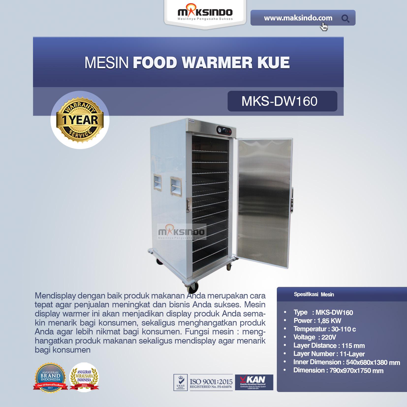 Jual Mesin Food Warmer Kue MKS-DW160 di Medan