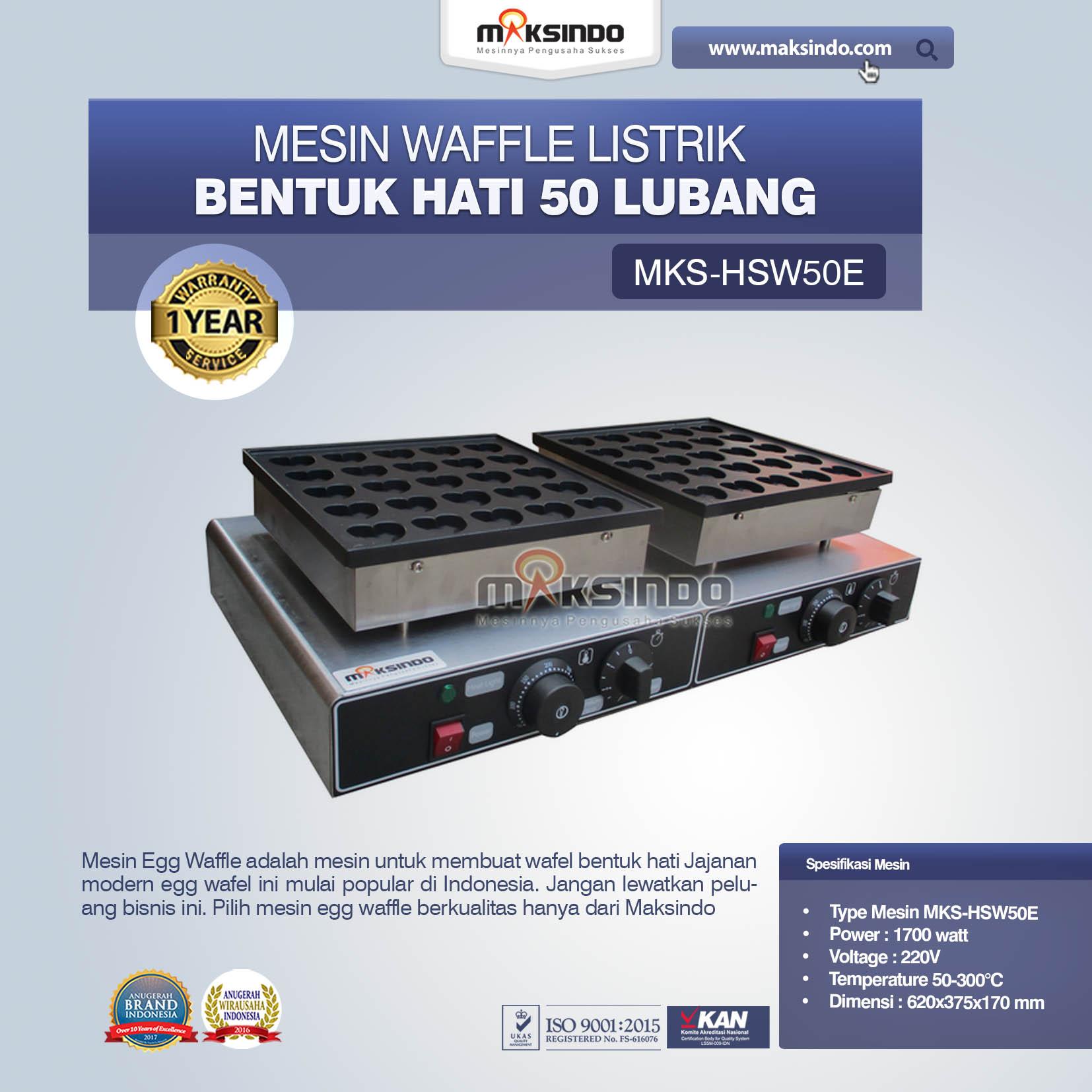 Jual Listrik Waffle Bentuk Hati 50 Lubang MKS-HSW50E di Medan