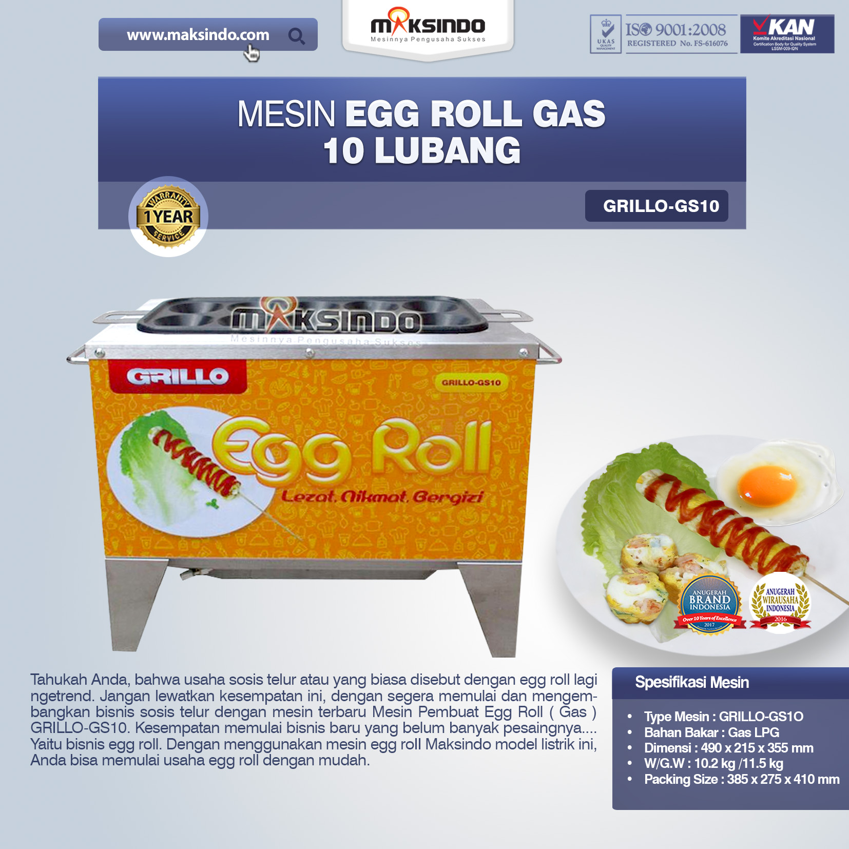 Jual Egg Roll Gas 10 Lubang GRILLO-GS10 di Medan