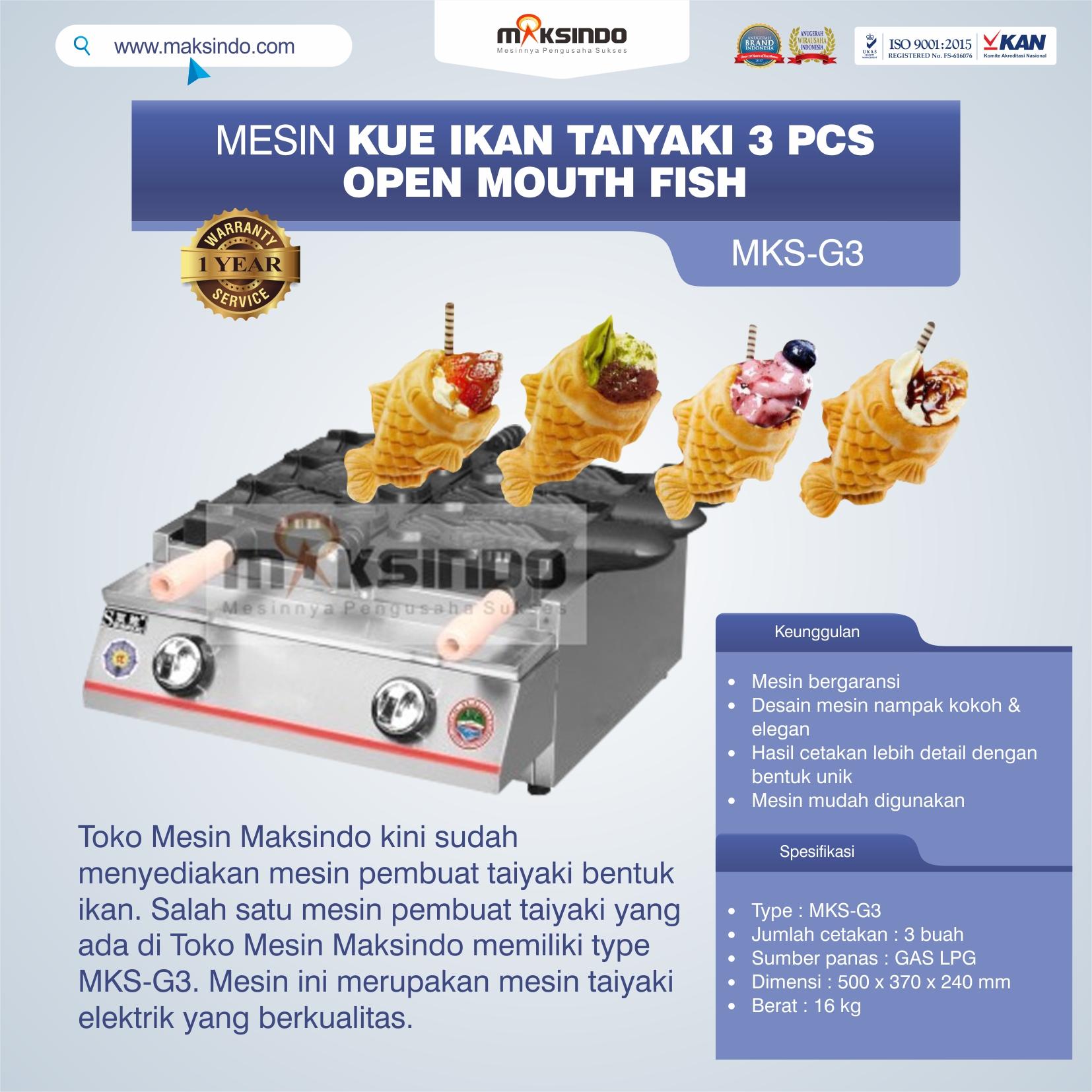 Jual Mesin Kue Ikan Taiyaki (3 pcs) – Open Mouth Fish di Medan