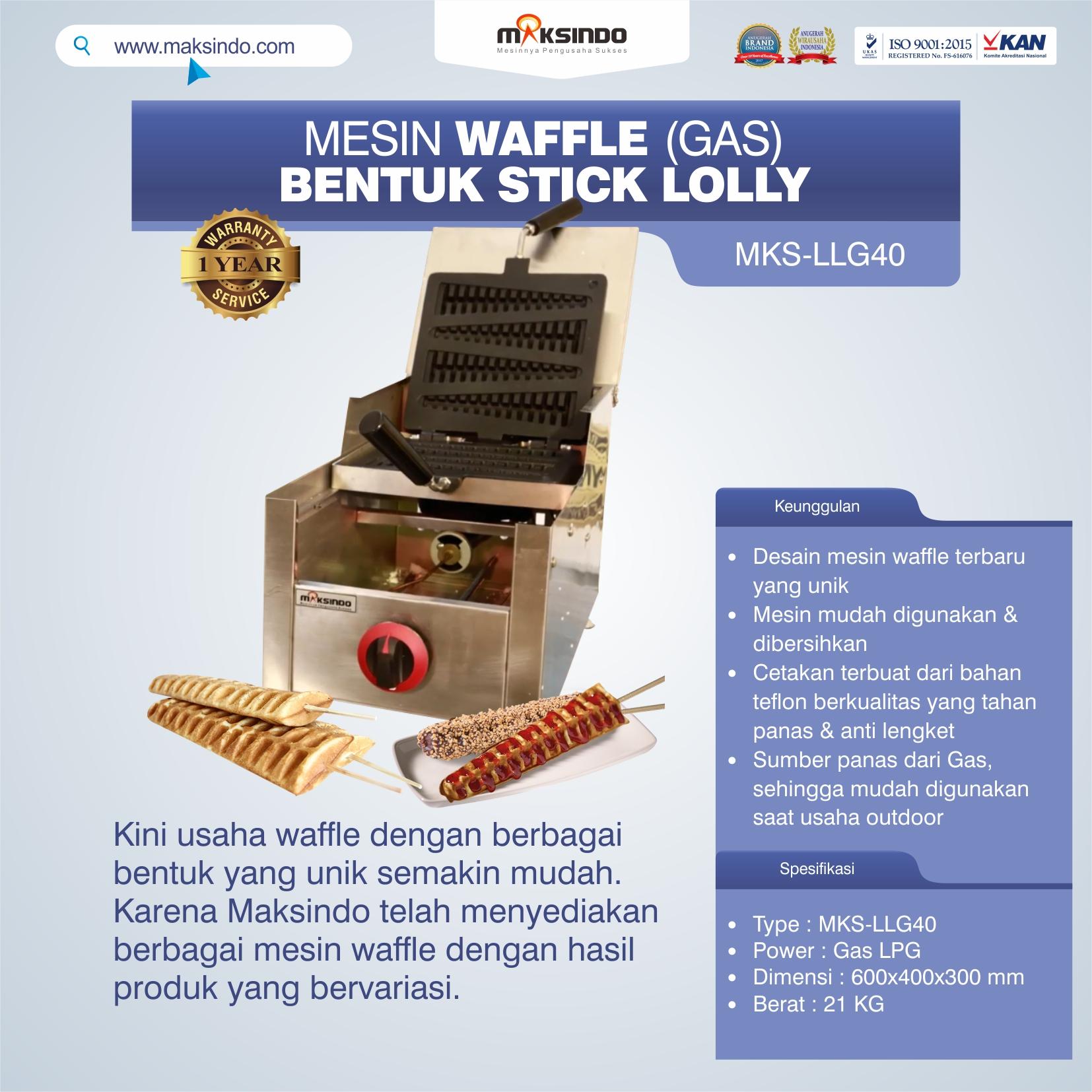 Jual Mesin Waffle Bentuk Stick Lolly (Gas) MKS-LLG40 di Medan