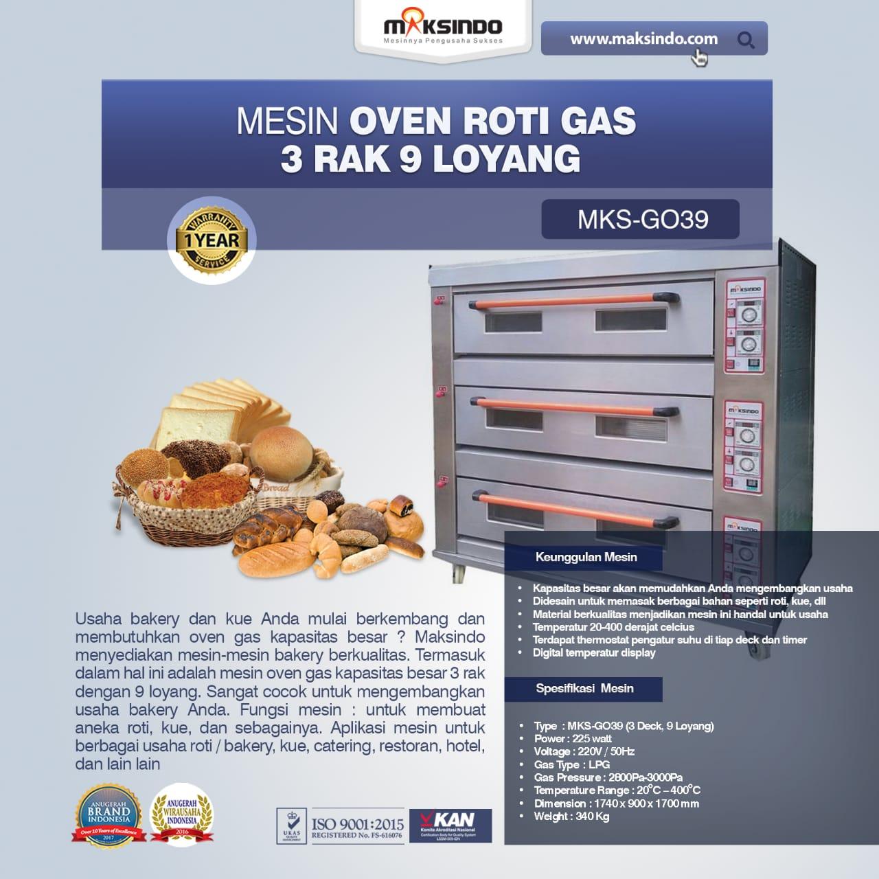 Jual Mesin Oven Roti Gas 3 Rak 9 Loyang (GO39) di Medan
