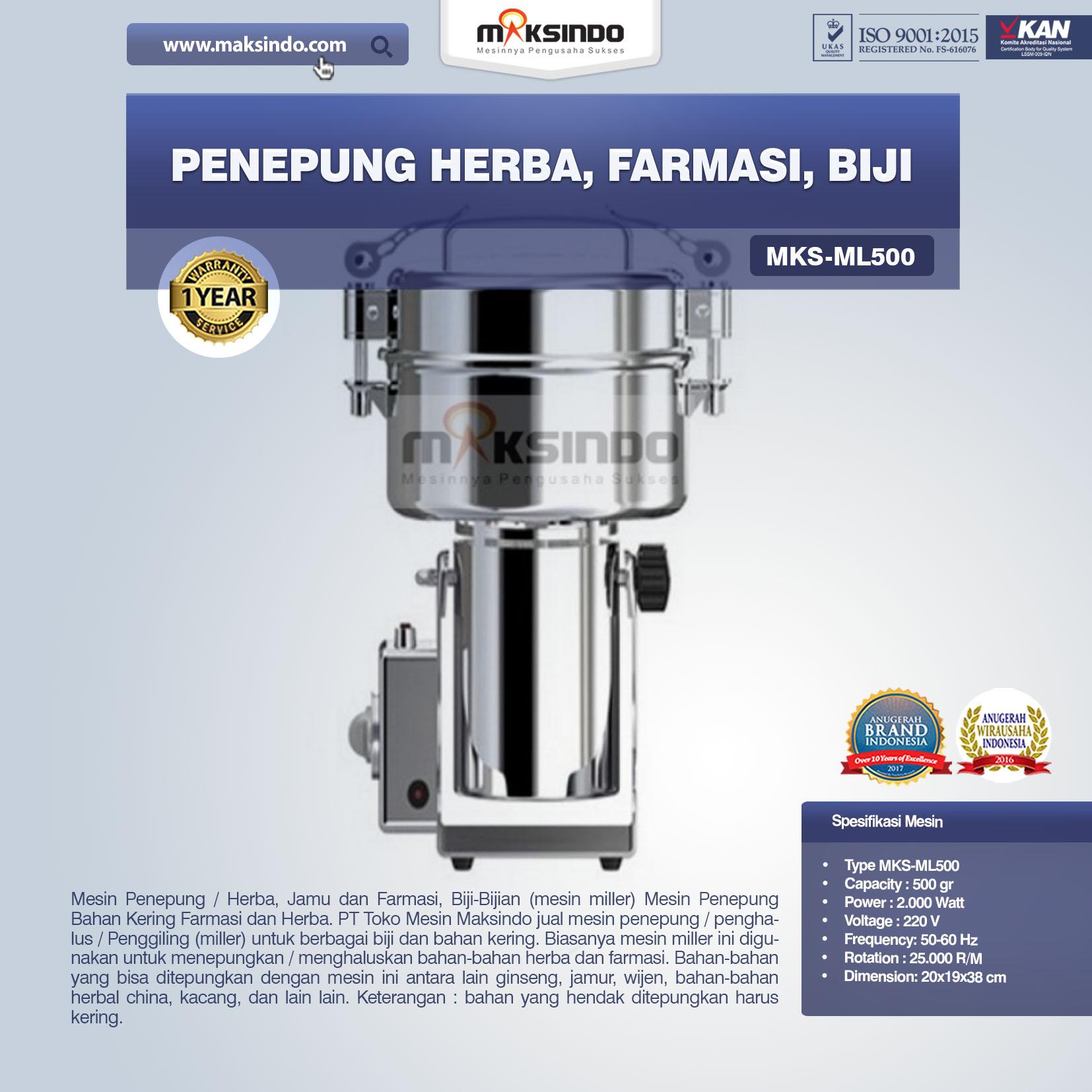 Jual Penepung Herba, Farmasi, Biji (ML500) di Medan
