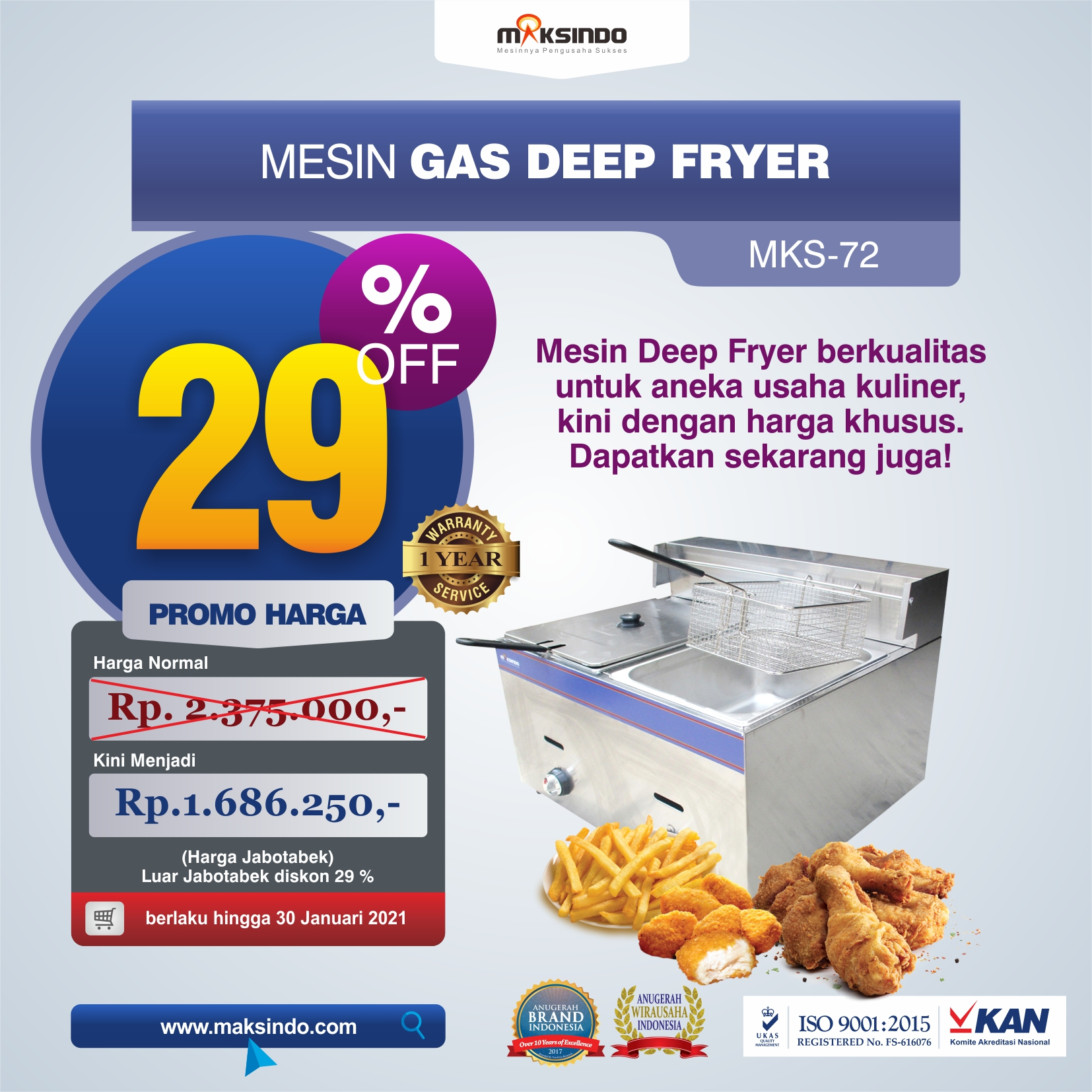 Jual Mesin Gas Deep Fryer MKS-72 di Medan