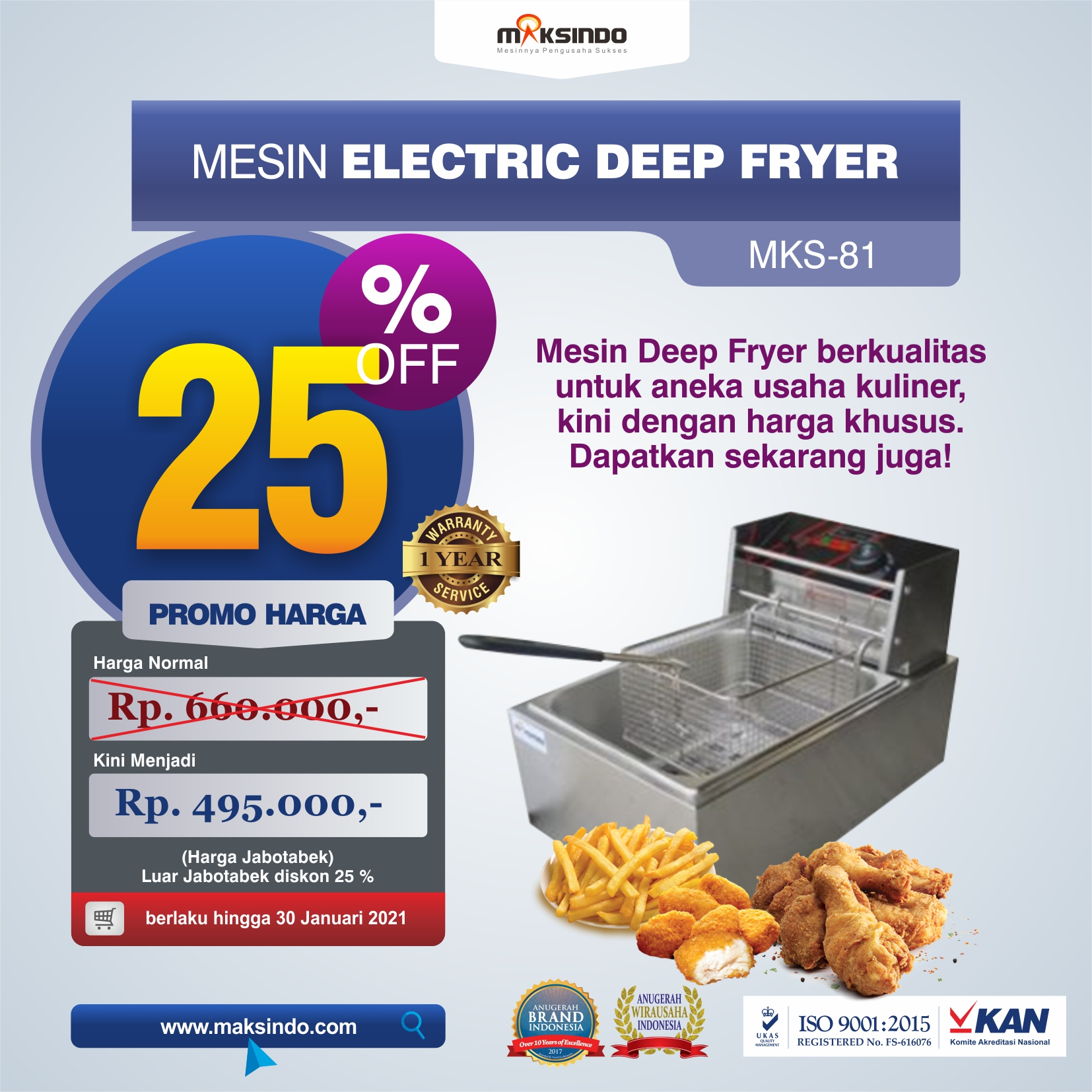 Jual Mesin Electric Deep Fryer MKS-81 di Medan