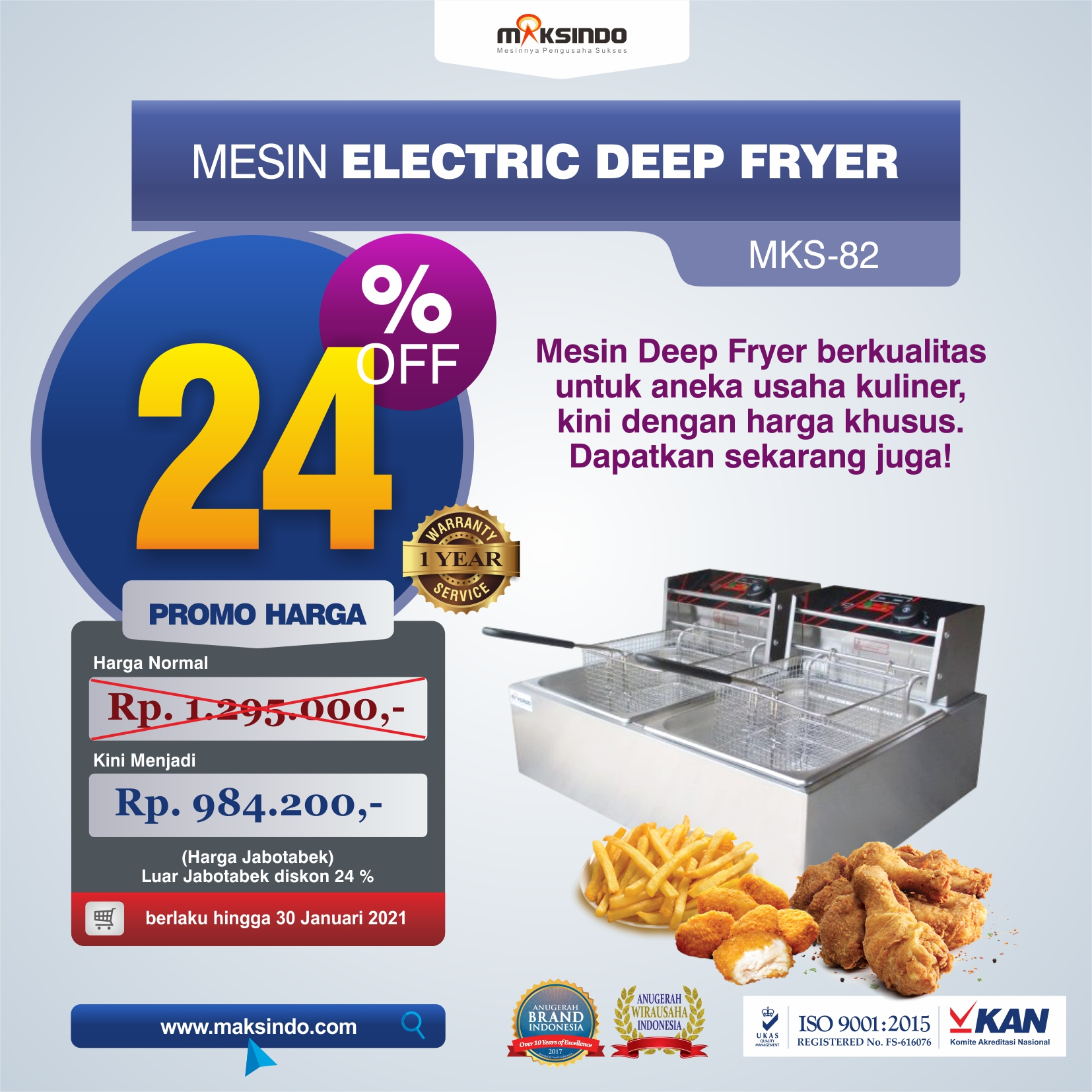 Jual Mesin Electric Deep Fryer MKS-82 di Medan