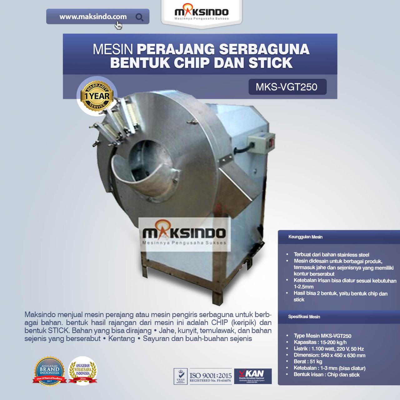 Jual Mesin Perajang Serbaguna Bentuk Chip dan Stick – MKS-VGT250 di Medan