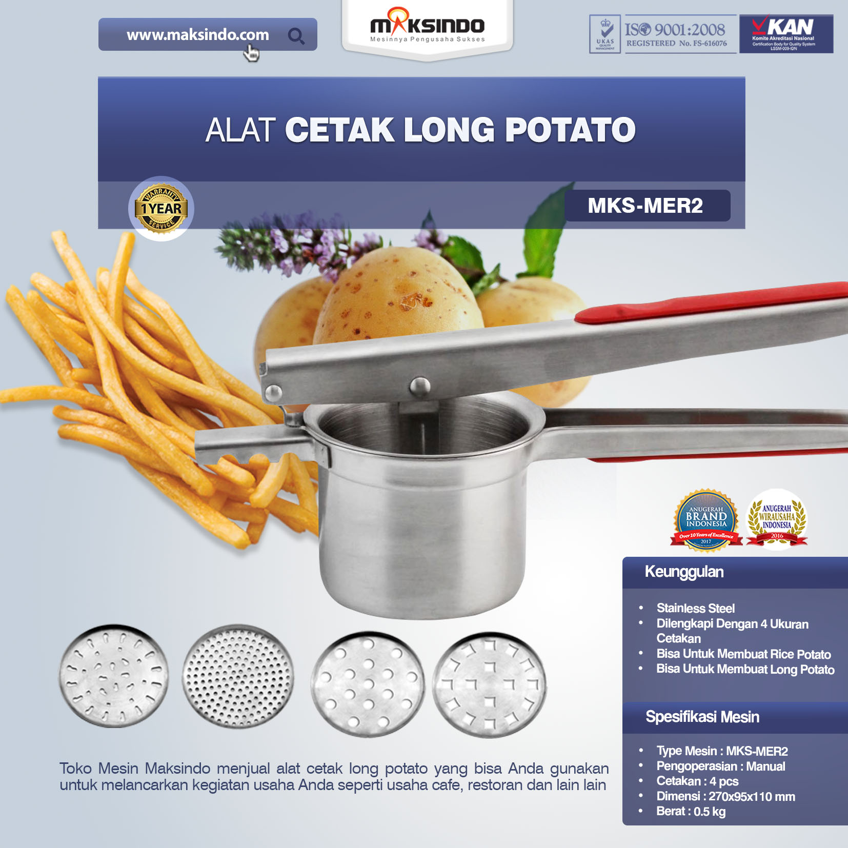 Jual Paket Mesin Long Potato Kentang Panjang di Medan