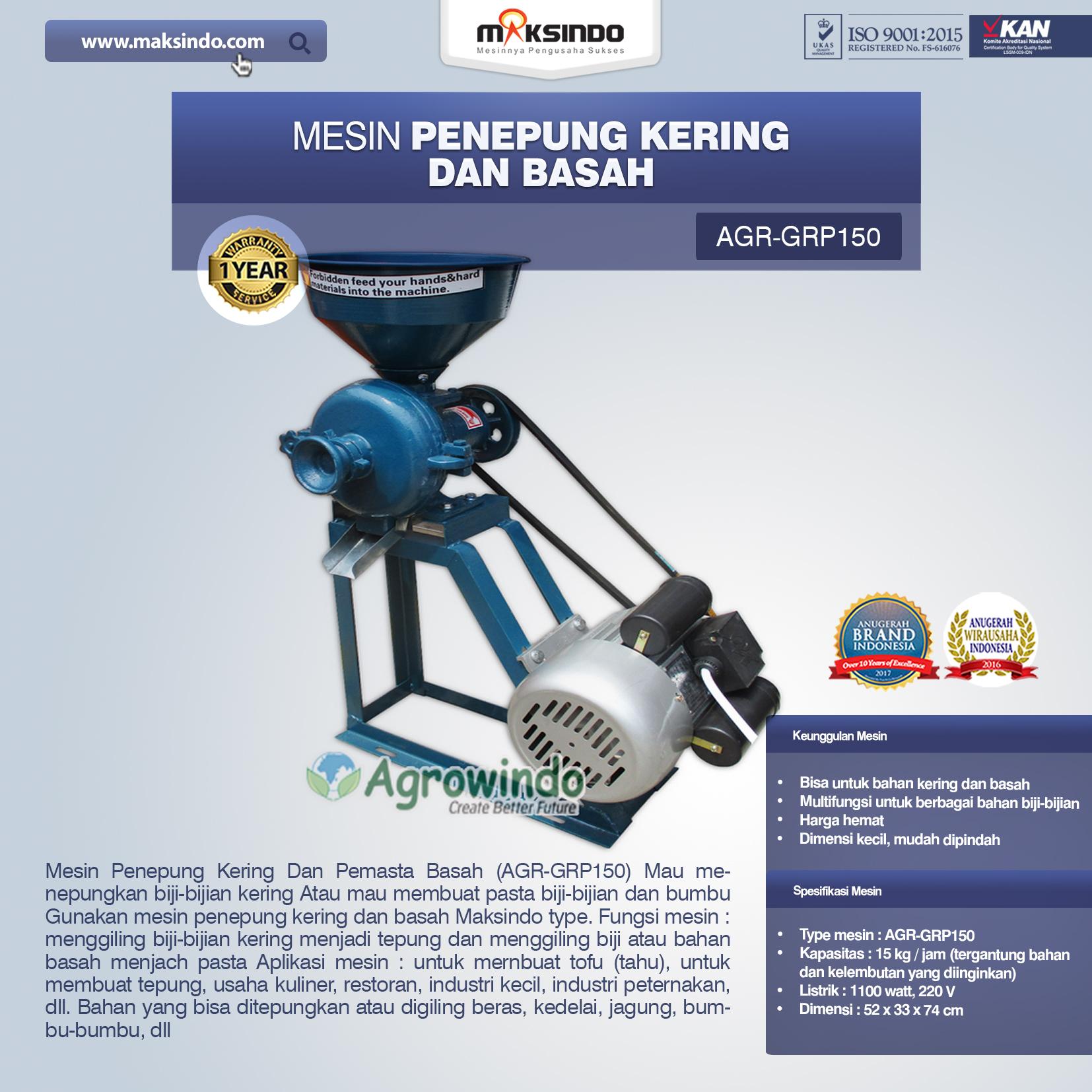 Jual Mesin Penepung Kering dan Basah (GRP150) di Medan