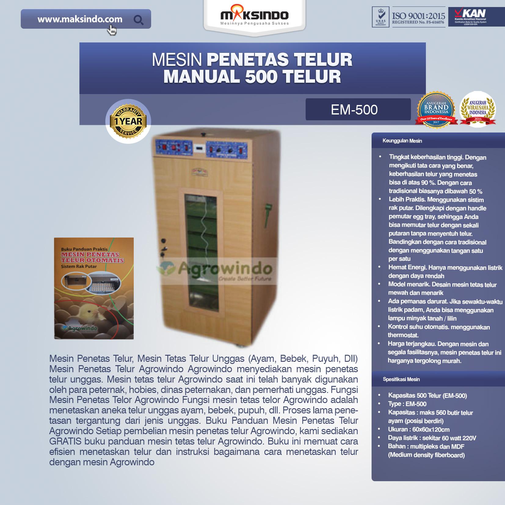 Jual Mesin Penetas Telur Manual 500 Telur (EM-500) di Medan