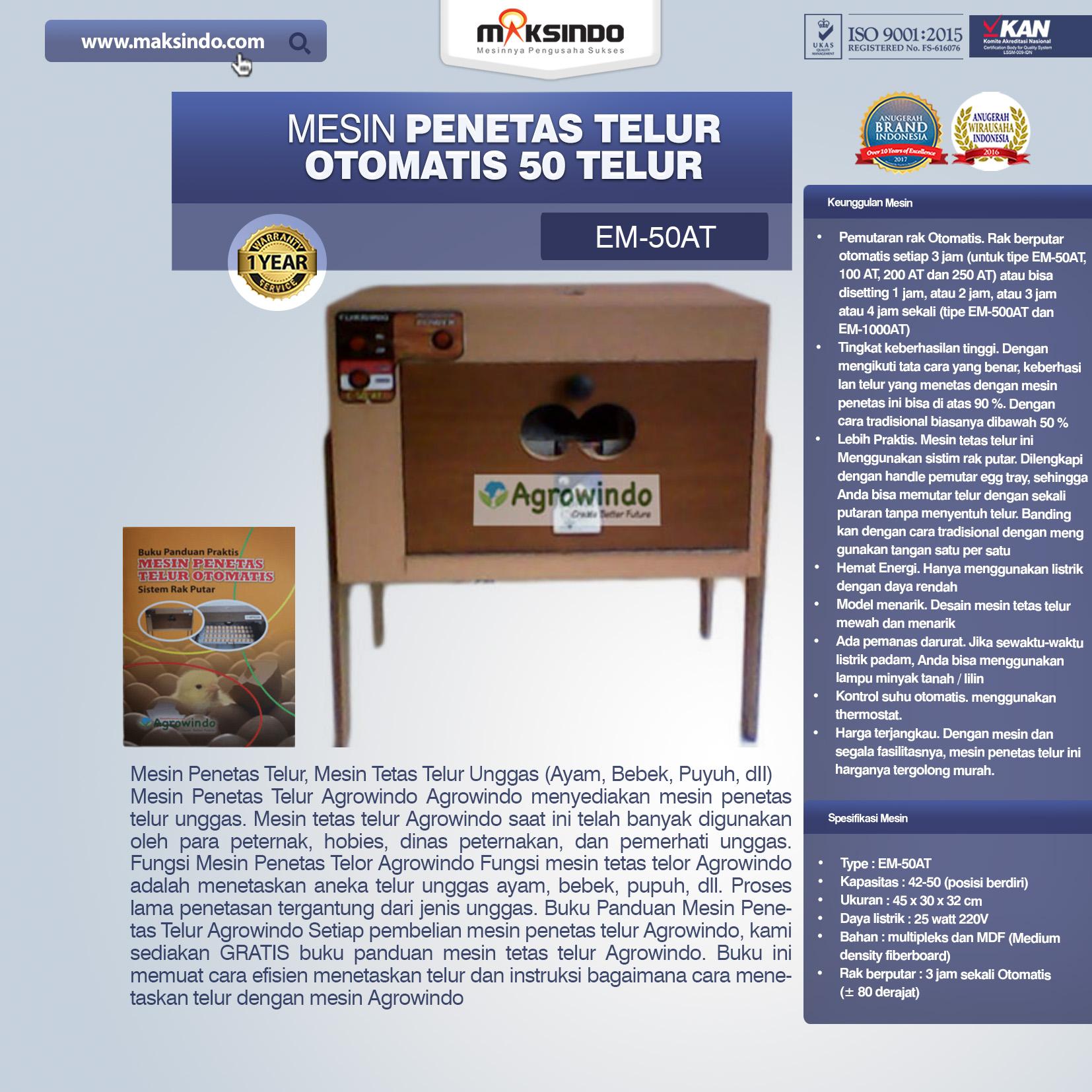 Jual Mesin Penetas Telur Otomatis 50 Telur (EM-50AT) di Medan