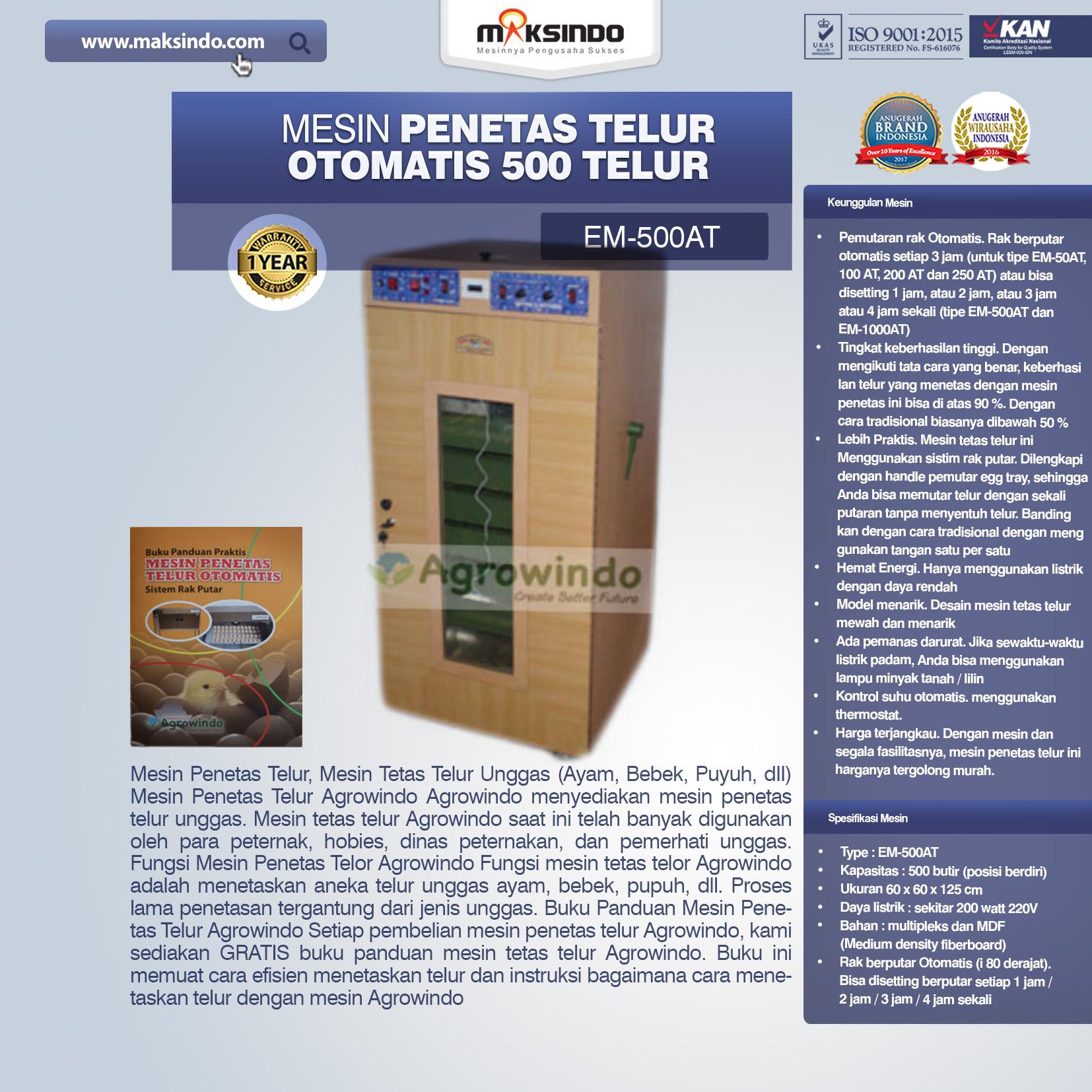 Jual Mesin Penetas Telur Otomatis Kapasitas 500 Telur (EM-500AT) di Medan