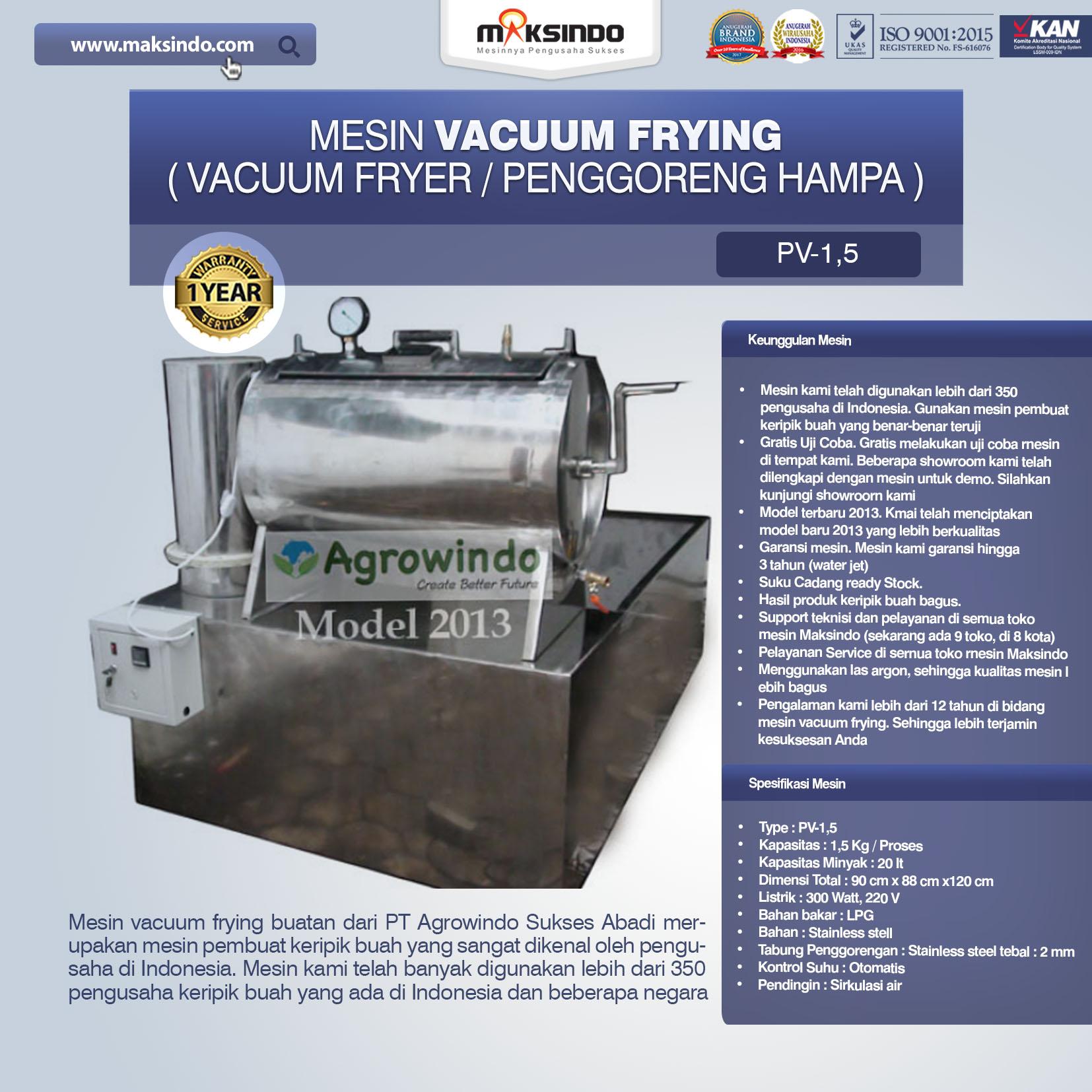 Jual Mesin Vacuum Frying Kapasitas 1.5 kg di Medan
