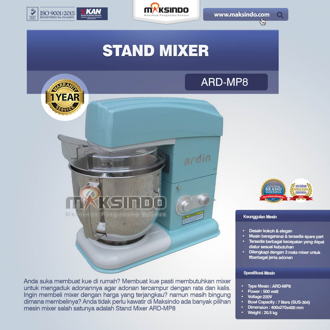 Jual Stand Mixer ARD-MP8 di Medan