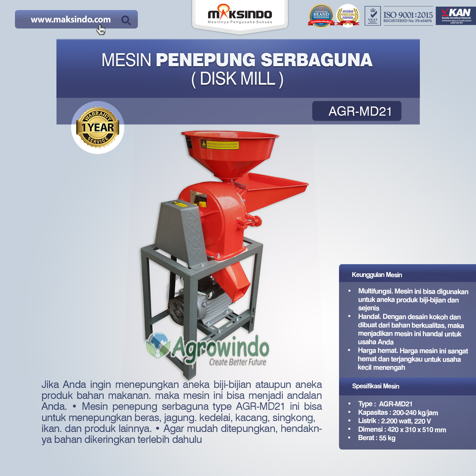 Jual Penepung Disk Mill Serbaguna (AGR-MD21) di Medan