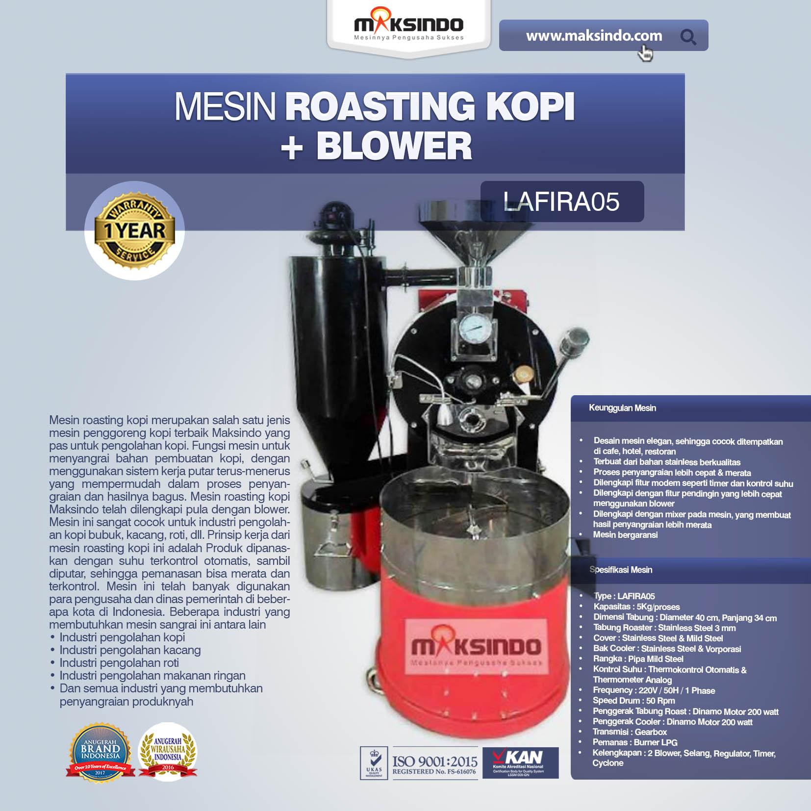 Jual Mesin Roasting Kopi + Blower LAFIRA05 di Medan