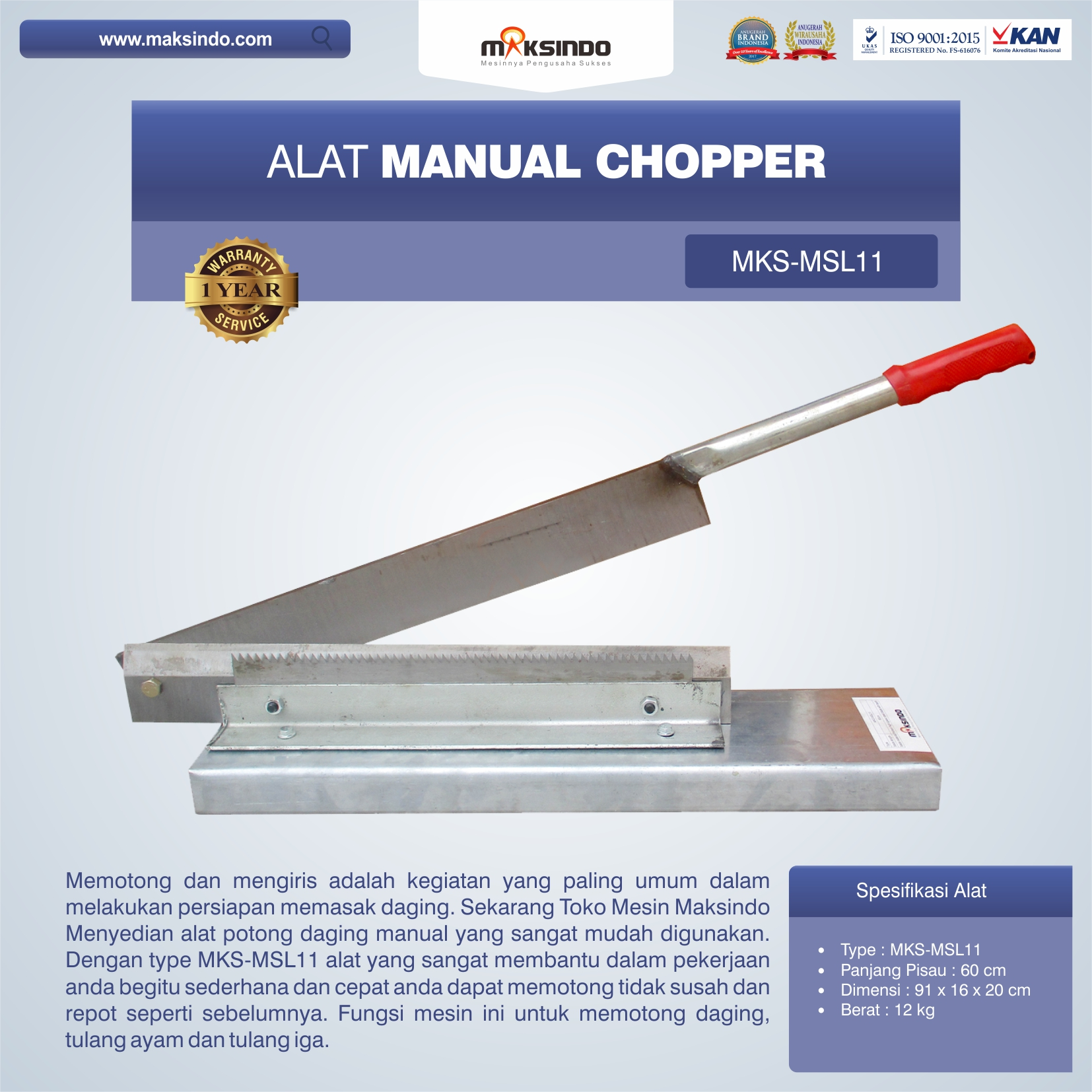 Jual Alat Manual Chopper MKS-MSL11 di Medan