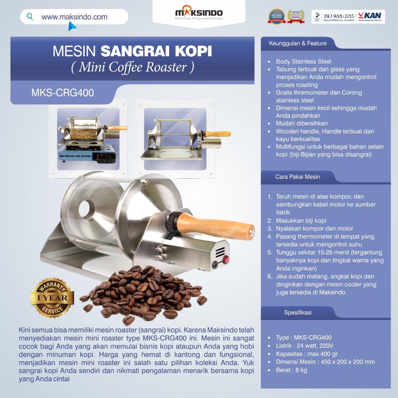 Jual Mesin Sangrai Kopi (Coffee Roaster) MKS-CRG400 di Medan
