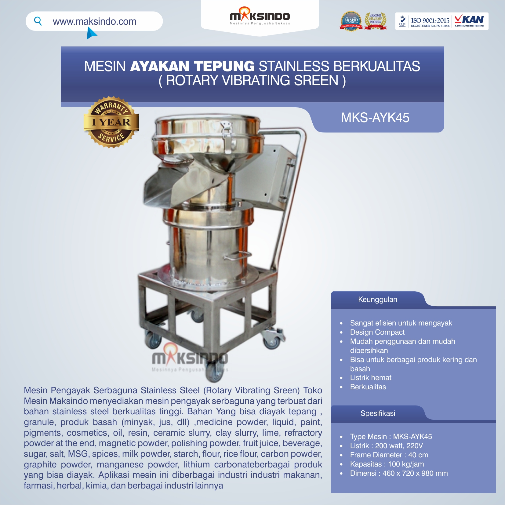 Jual Mesin Ayakan Tepung Stainless Berkualitas di Medan