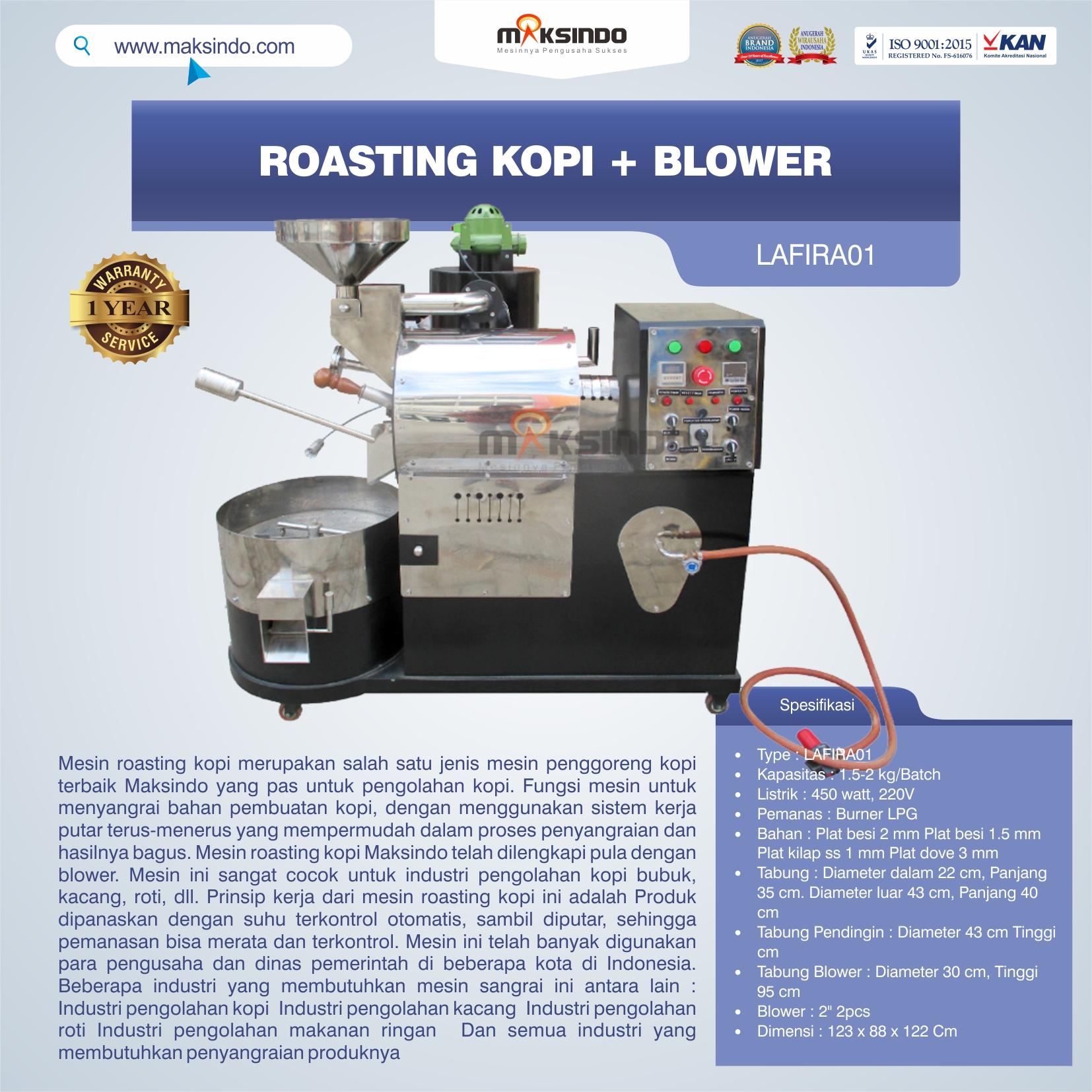 Jual Roasting Kopi + Blower LAFIRA01 di Medan
