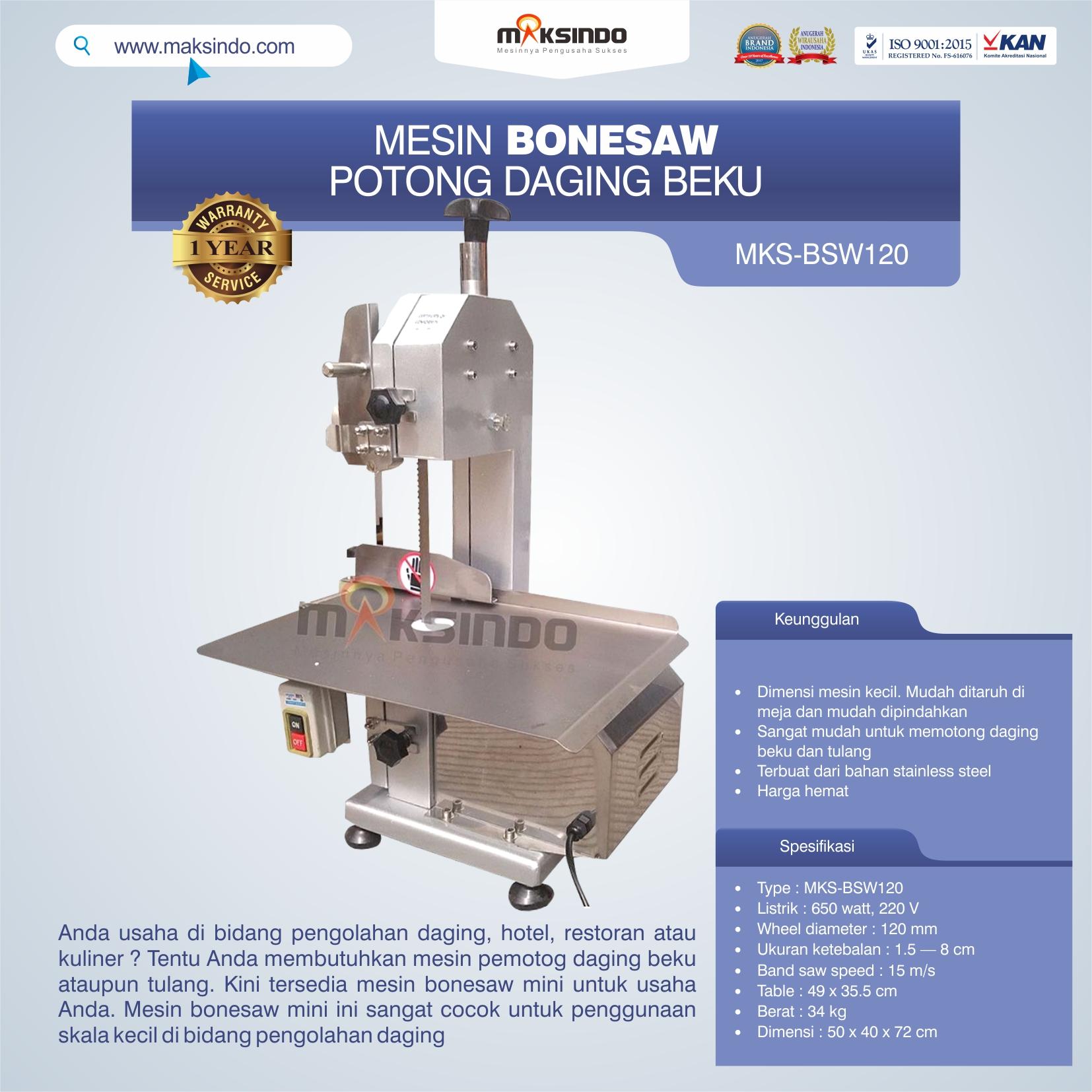 Jual Bonesaw Pemotong Daging Beku (MKS-BSW120) di Medan