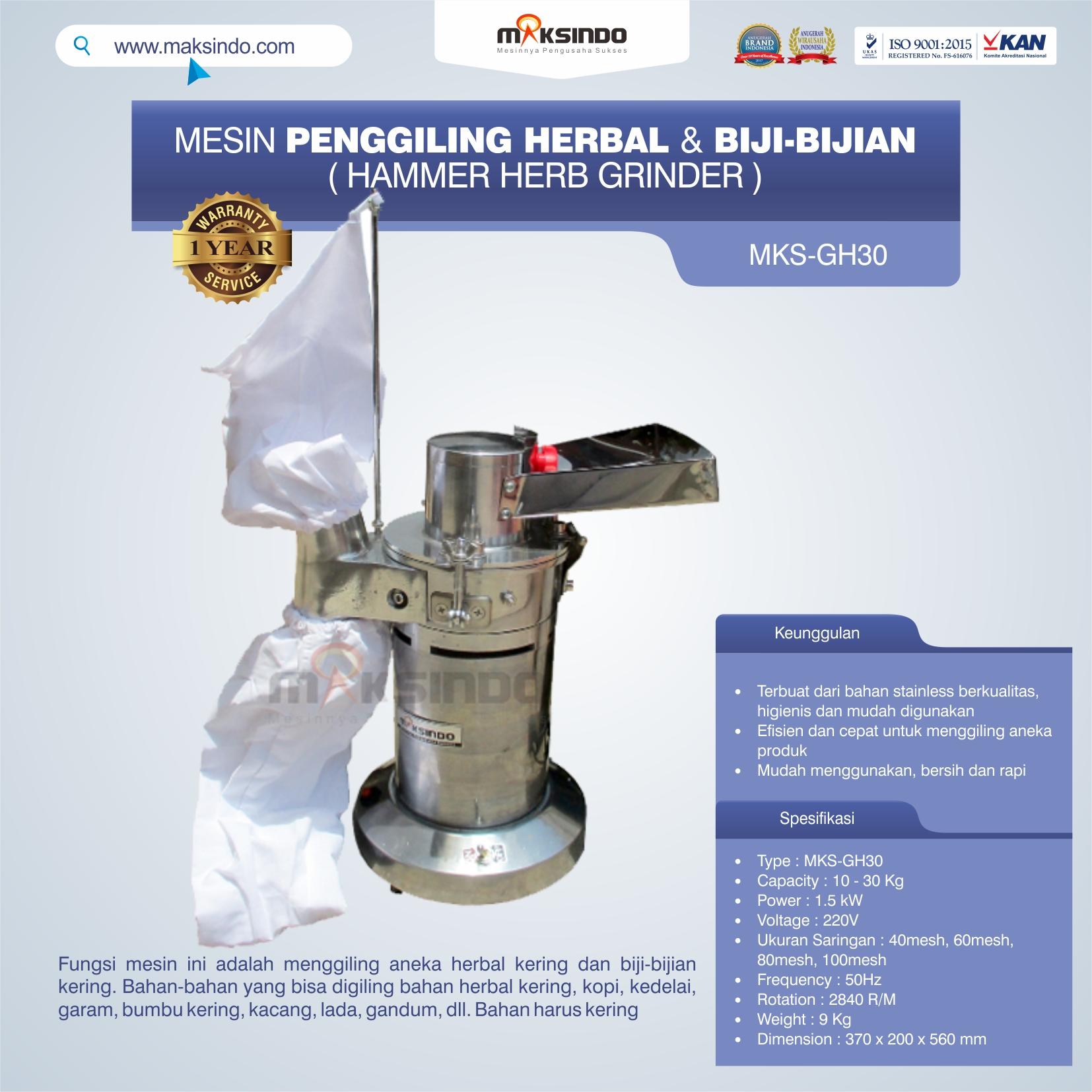 Jual Penggiling Herbal dan Biji-Bijian (GH-30) di Medan