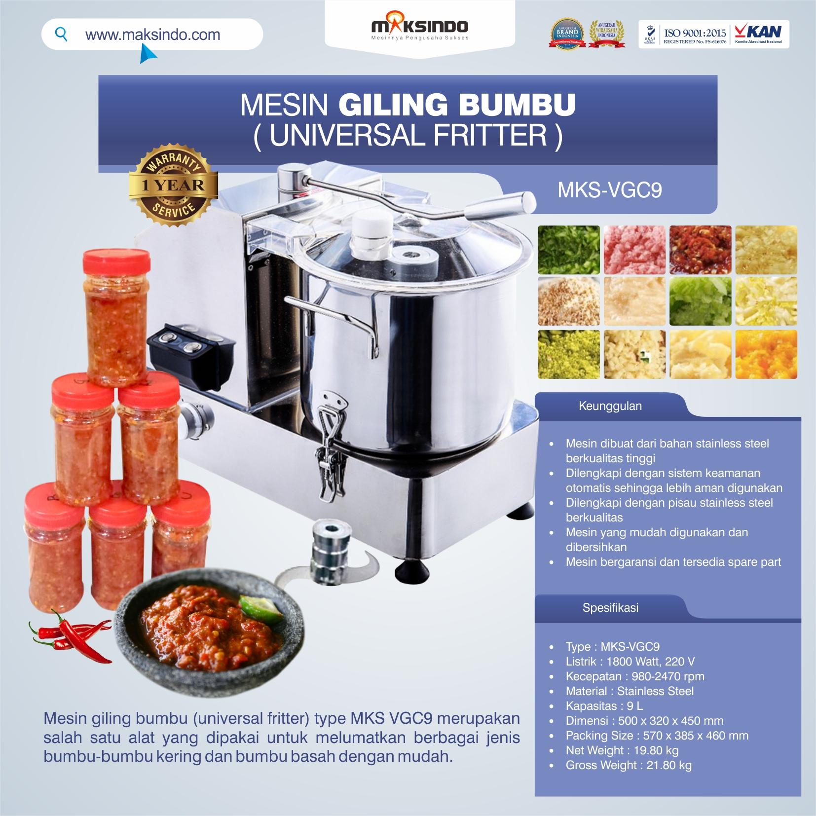 Jual Mesin Giling Bumbu (Universal Fritter) MKS VGC9 di Medan