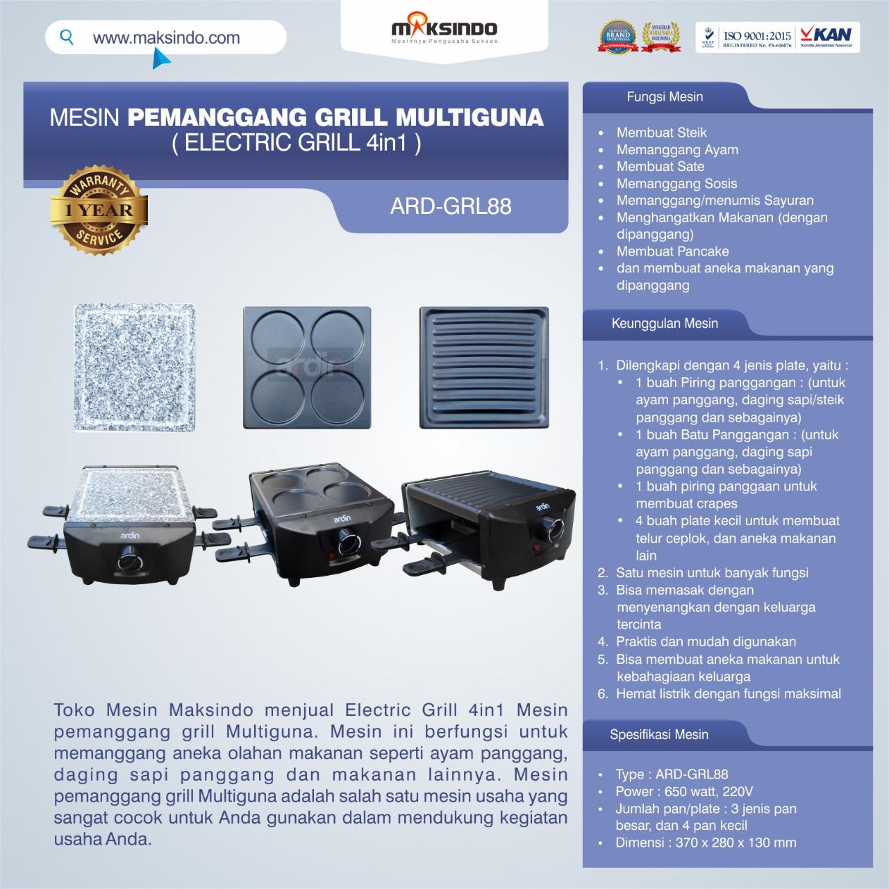 Jual Mesin Pemanggang Grill Multiguna (Electric Grill 4in1) ARD-GRL88 Di Medan
