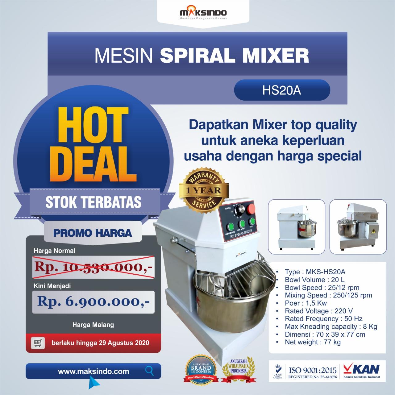 Jual Mesin Mixer Roti SPIRAL MKS-HS20A di Medan