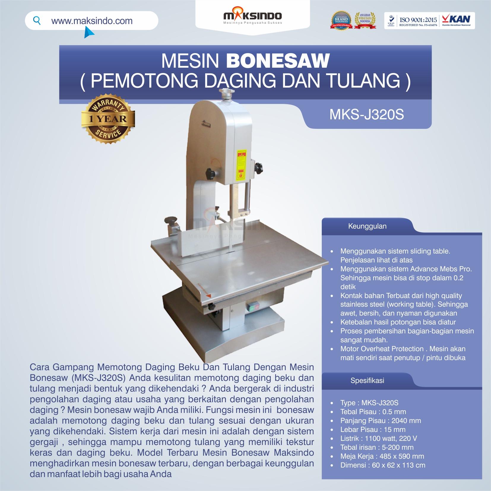Jual Mesin Bonesaw MKS-J320S (pemotong daging dan tulang) di Medan