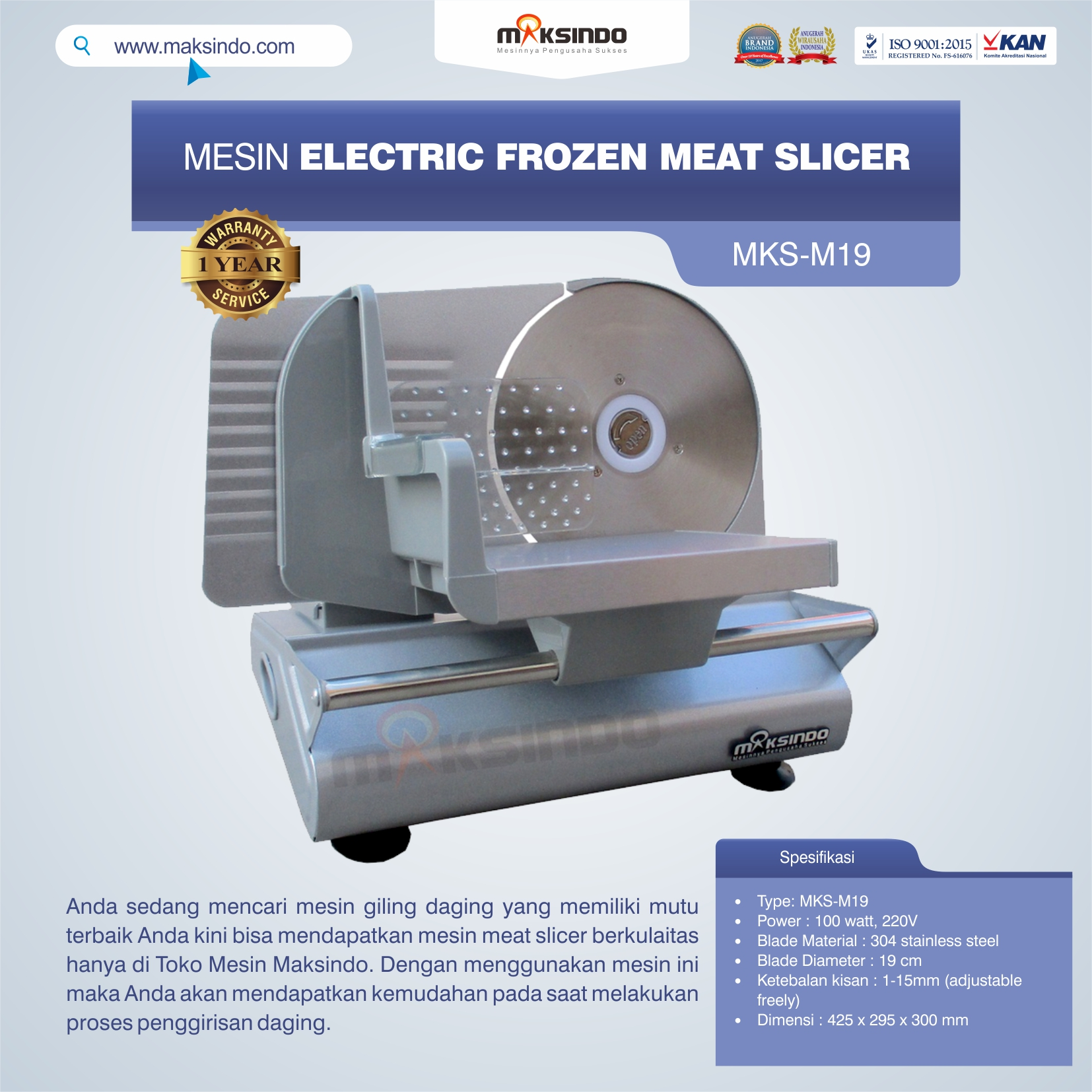 Jual MesinElectric Frozen Meat SlicerMKS-M19 Di Medan