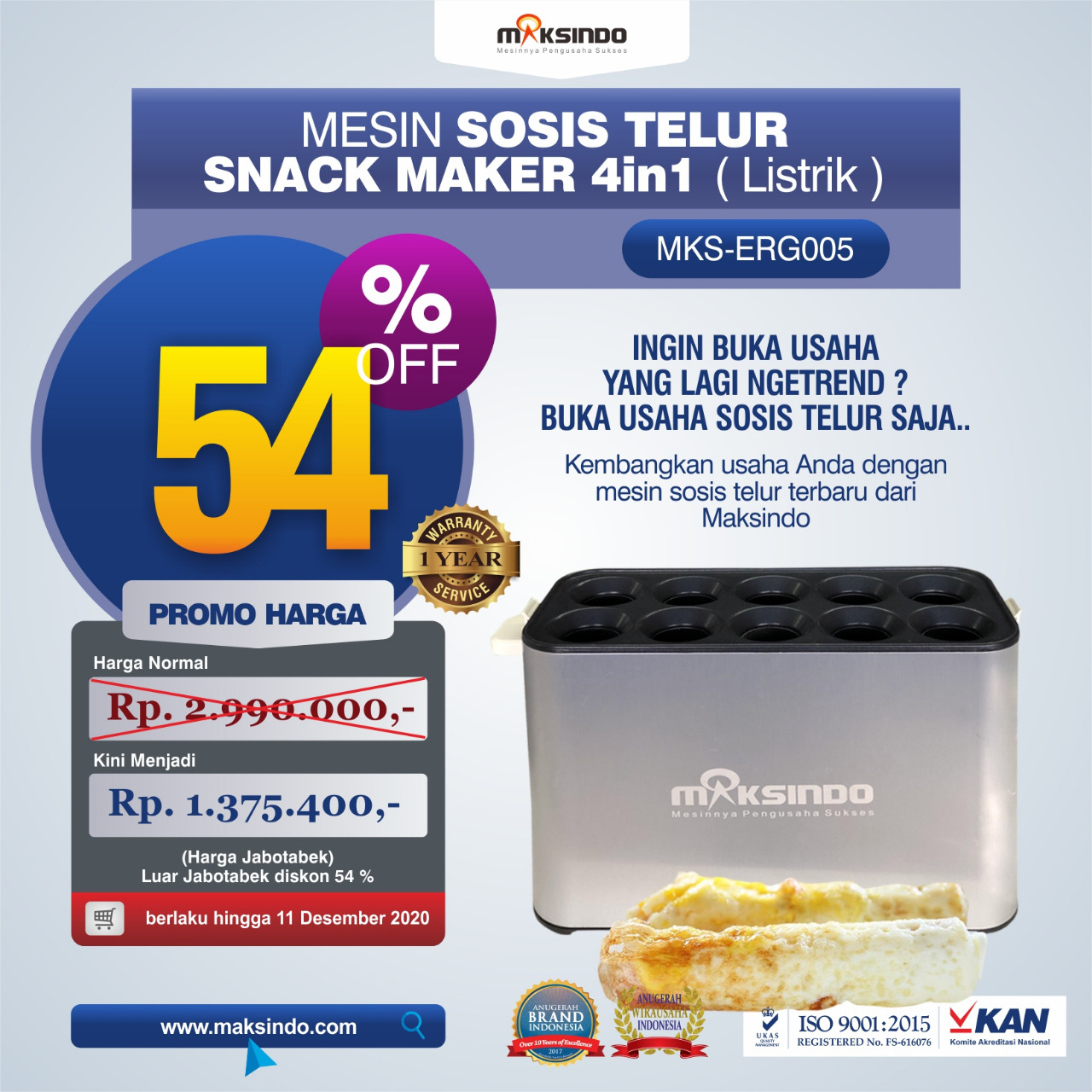 Jual Mesin Egg Roll Sosis Telur Snack Maker 4in1 Listrik di Medan