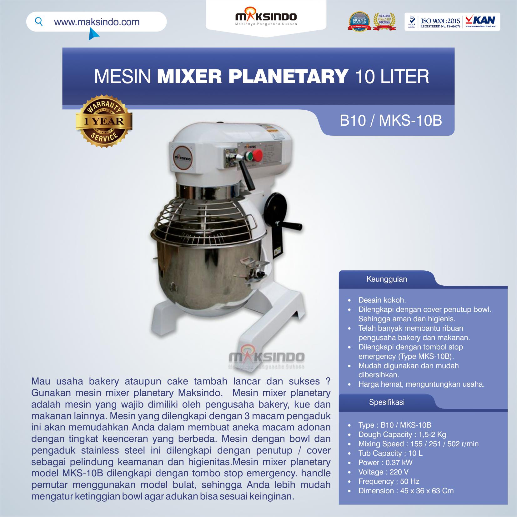 Jual Mesin Mixer Planetary 10 Liter (MKS-10B) di Medan