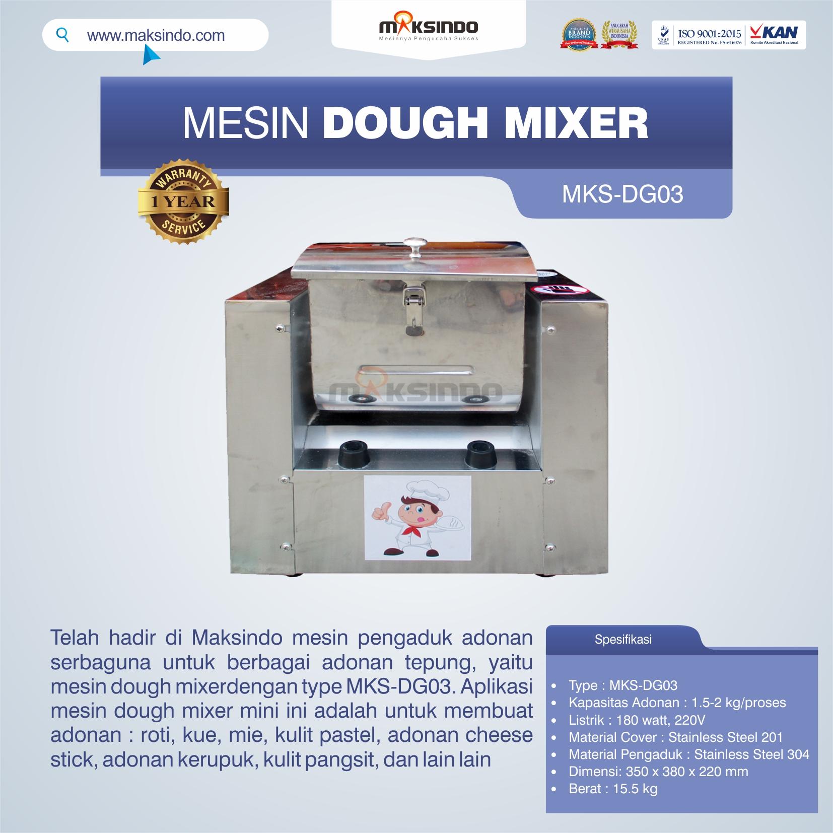 Jual Mesin Dough Mixer MKS-DG03 di Medan