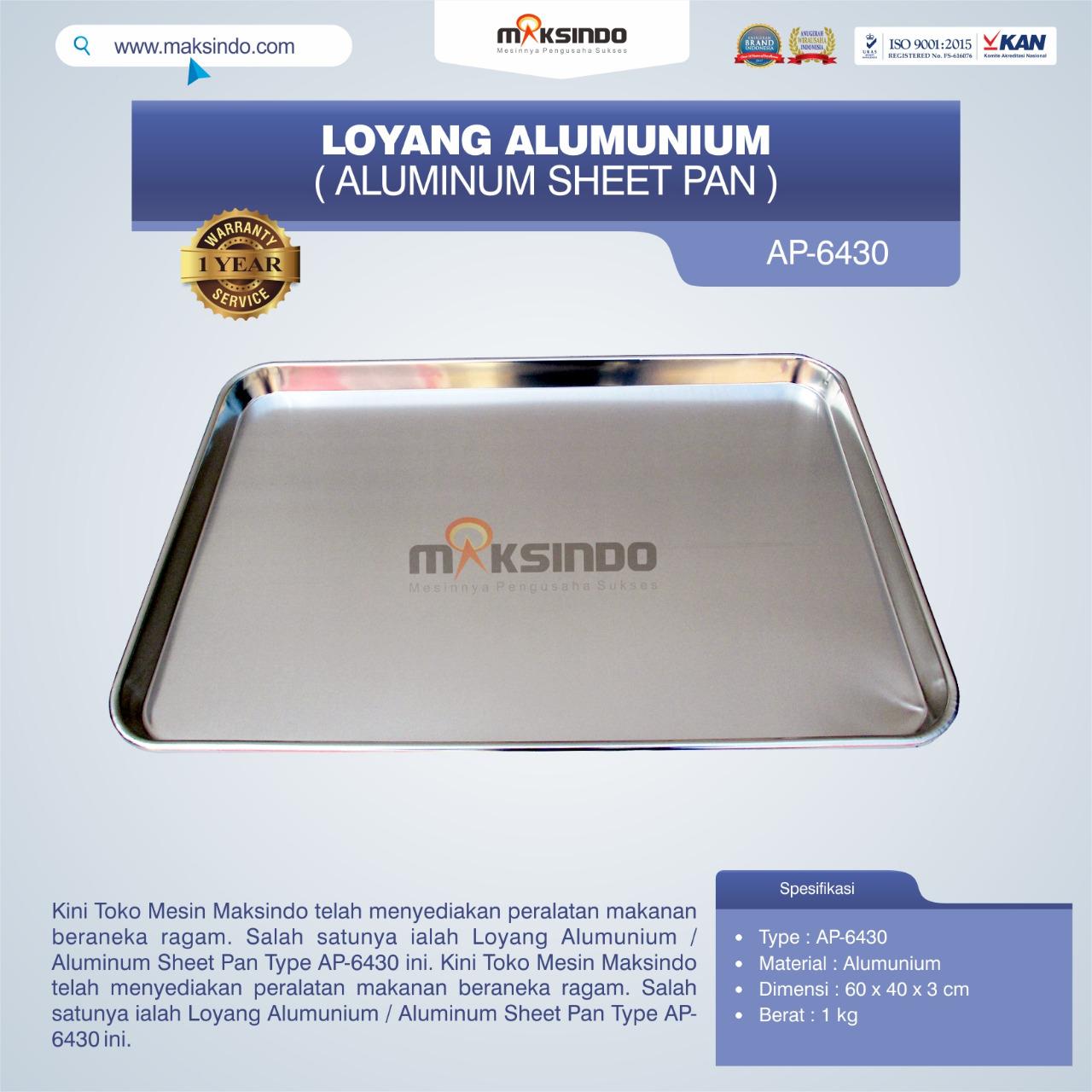 Jual Loyang Alumunium / Aluminum Sheet Pan Type AP-6430 di Medan