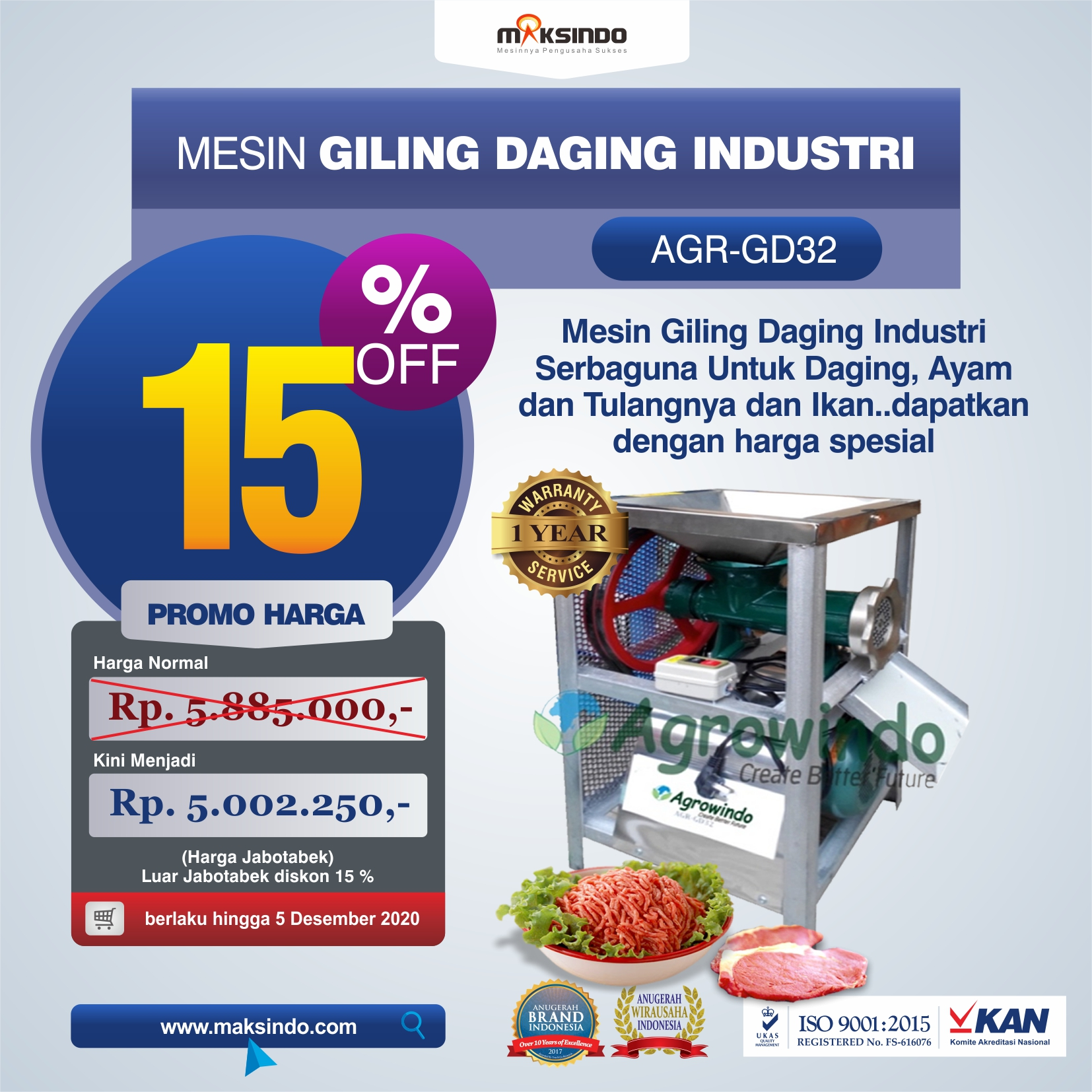 Jual Mesin Giling Daging Industri (AGR-GD32) di Medan