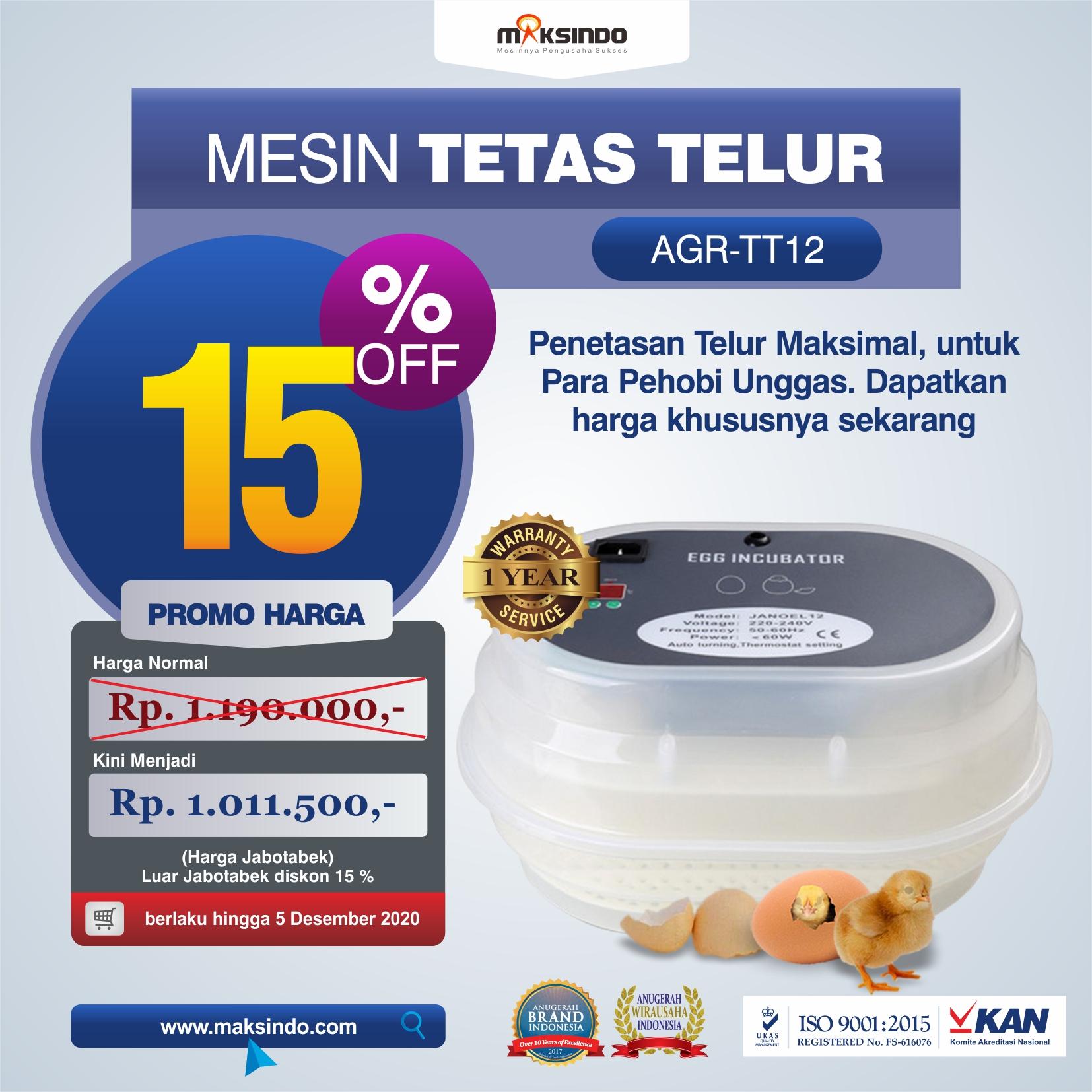 Jual Mesin Tetas Telur 12 Butir Otomatis – AGR-TT12 di Medan