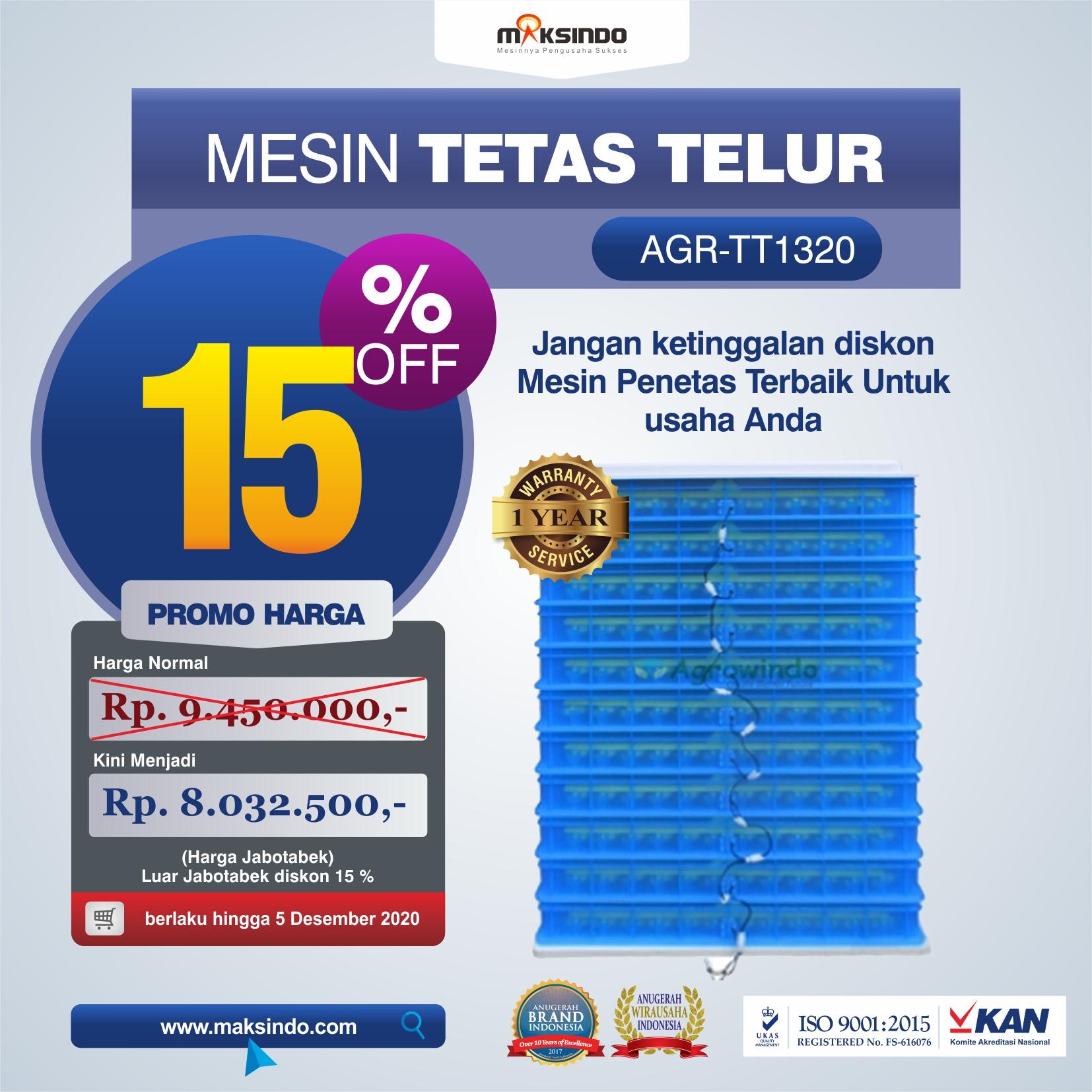 Jual Mesin Penetas Telur AGR-TT1320 Di Medan