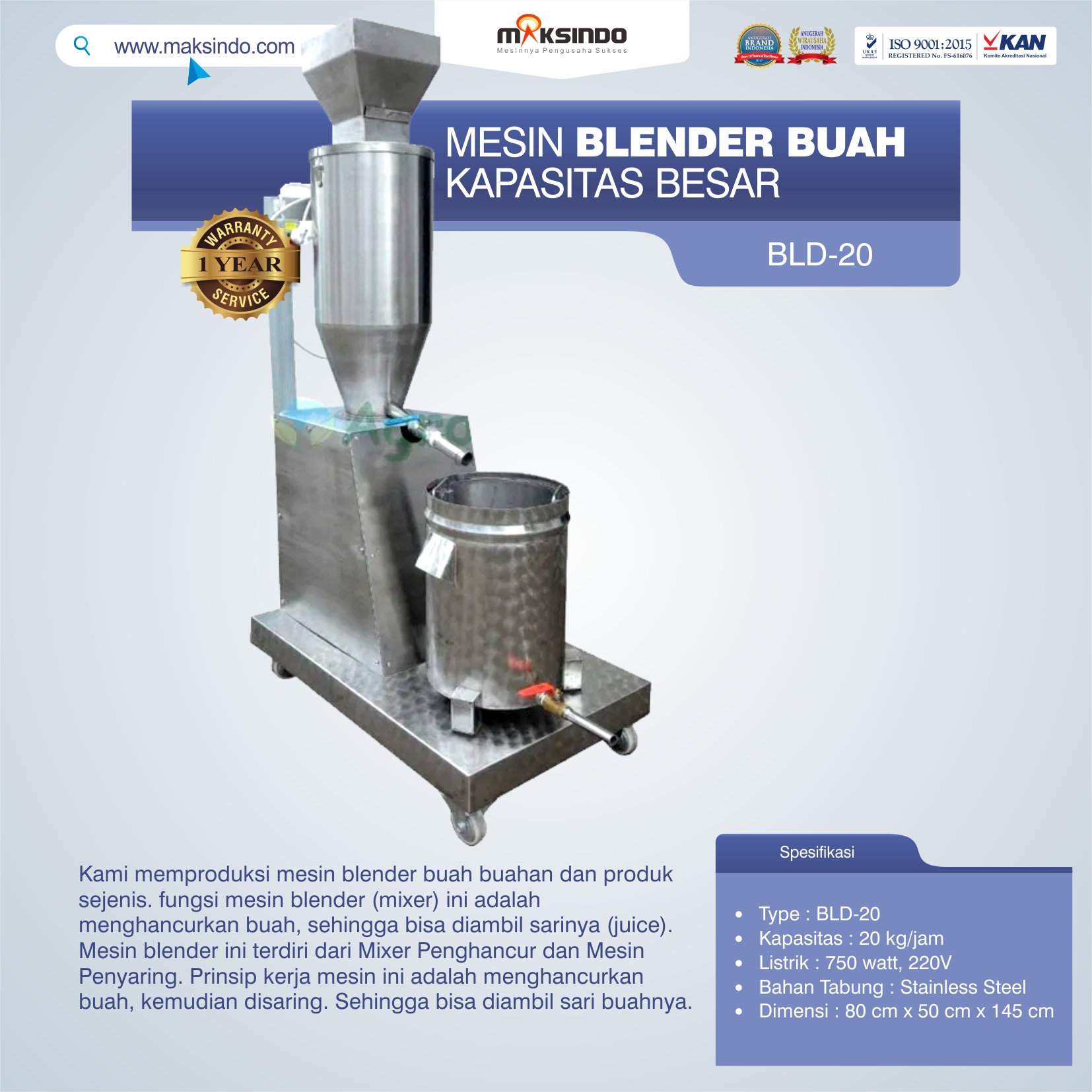 Jual Mesin Blender Buah Kapasitas Besar BLD-20 di Medan