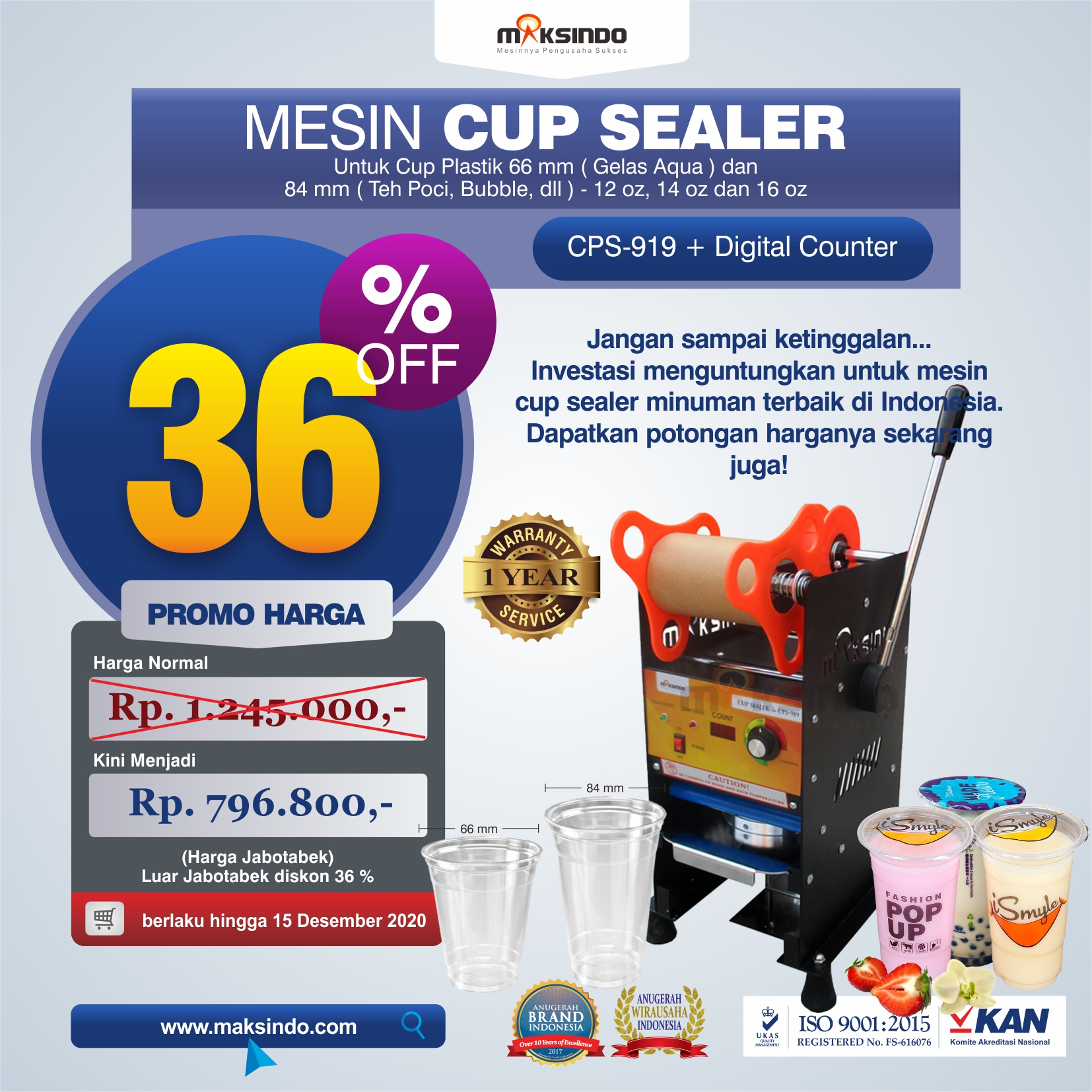 Jual Cup Sealer Manual Plus Counter (CPS-919) di Medan